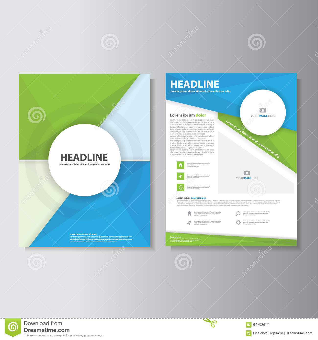 Green Blue Brochure Flyer Leaflet Infographic Presentation Templates Flat  Design Set For Marketing