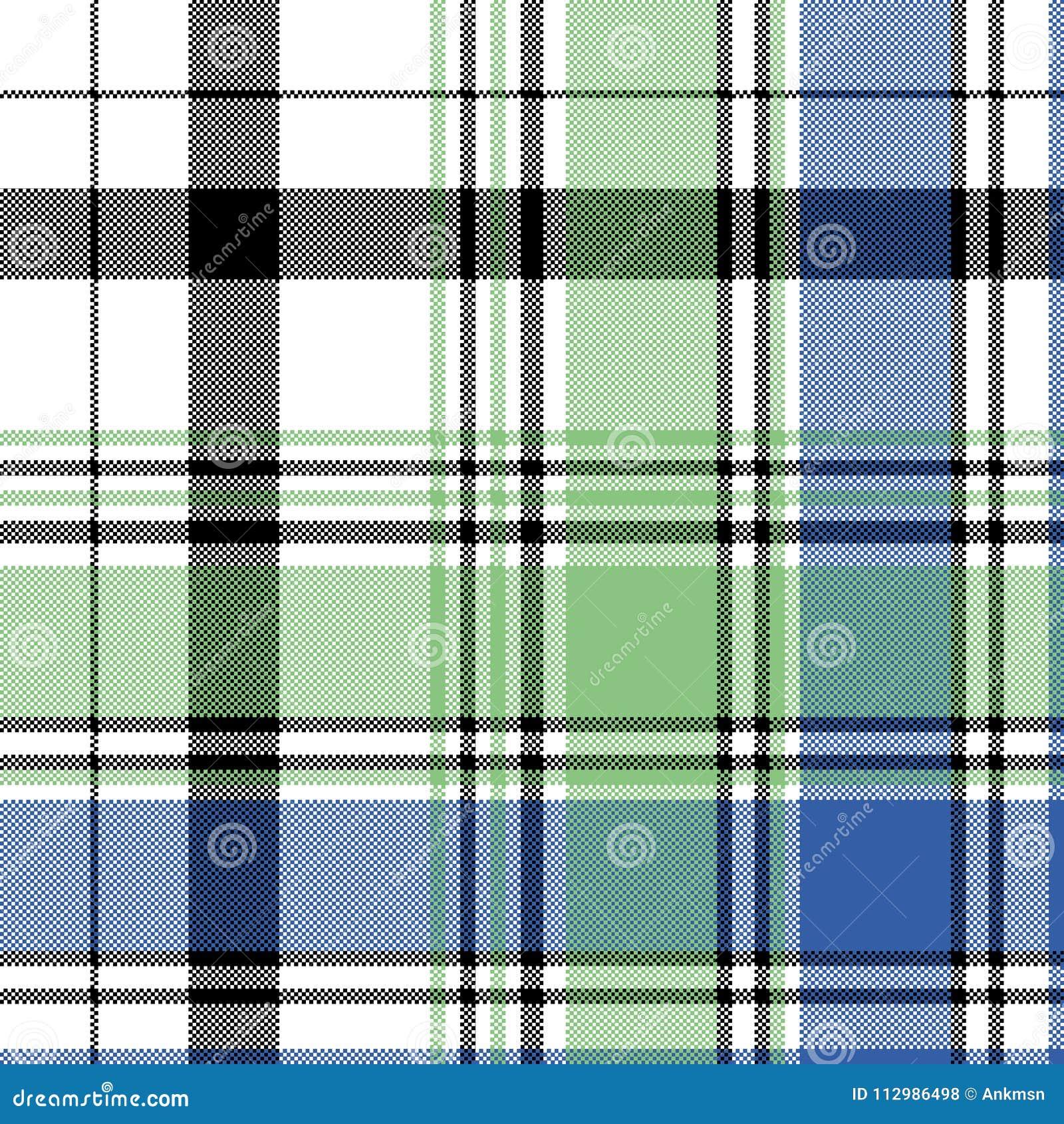 Green blue check plaid pixel seamless pattern