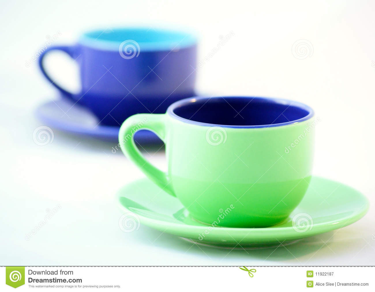 Espresso Coffee Green ~ Green and blue espresso coffee cups royalty free stock