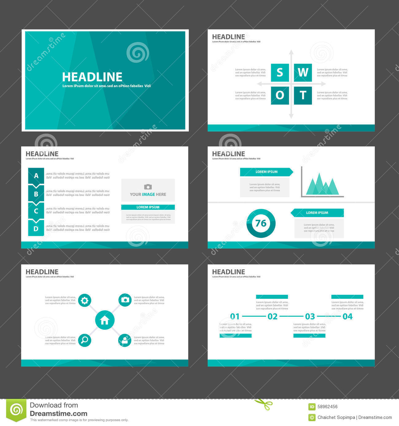 Green blue polygon infographic element and icon for Stock market ppt templates free download