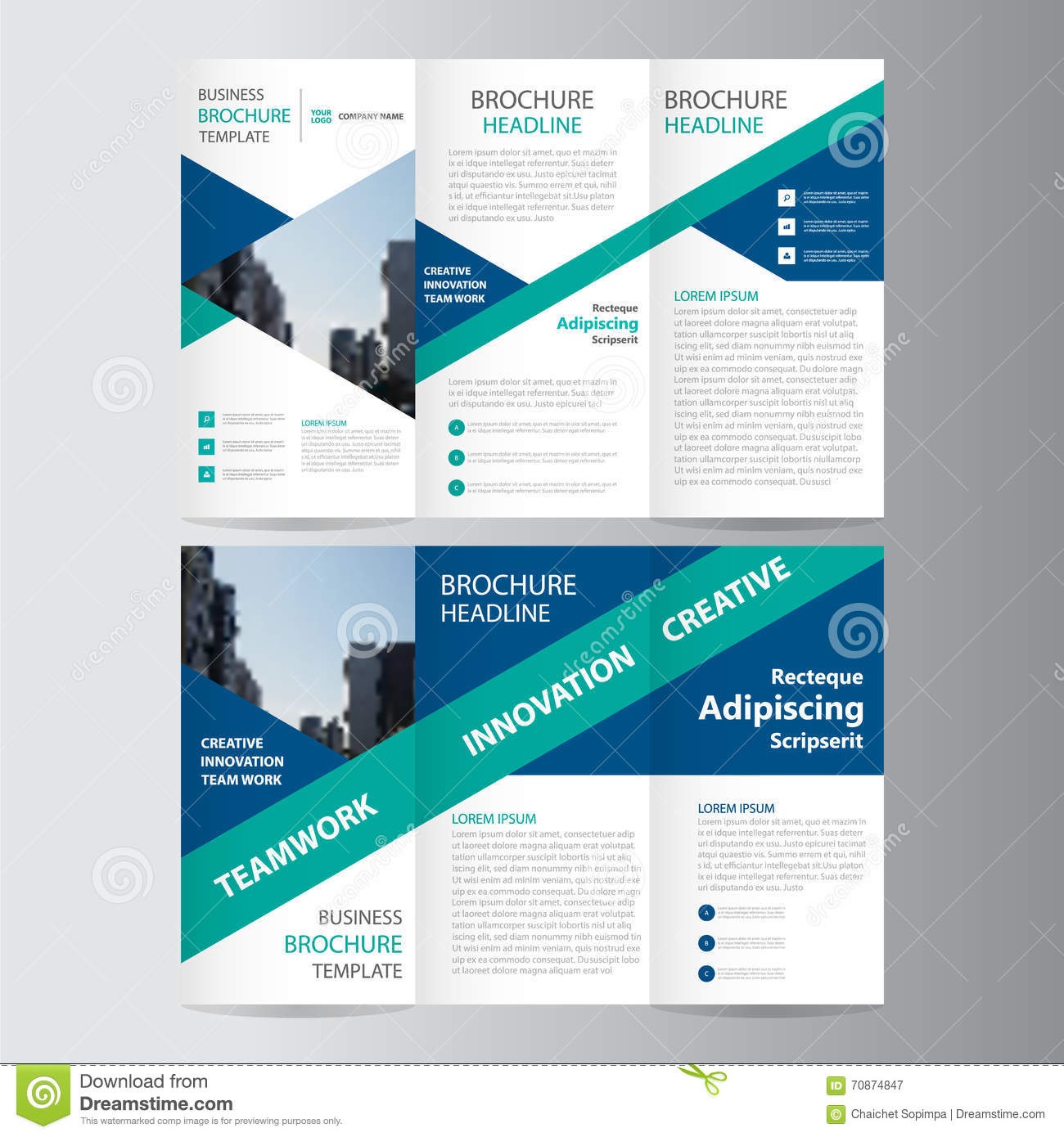 Amazing Royalty Free Vector. Download Green Blue Triangle Trifold Leaflet Brochure Flyer  Template ...