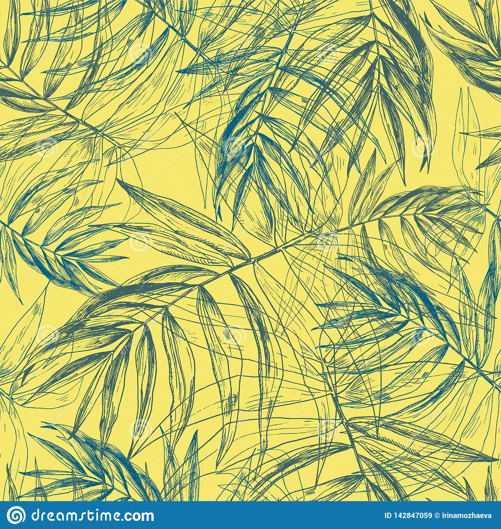 Green blue tropical palm leaves, jungle leaf seamless floral pattern on sunny yellow background