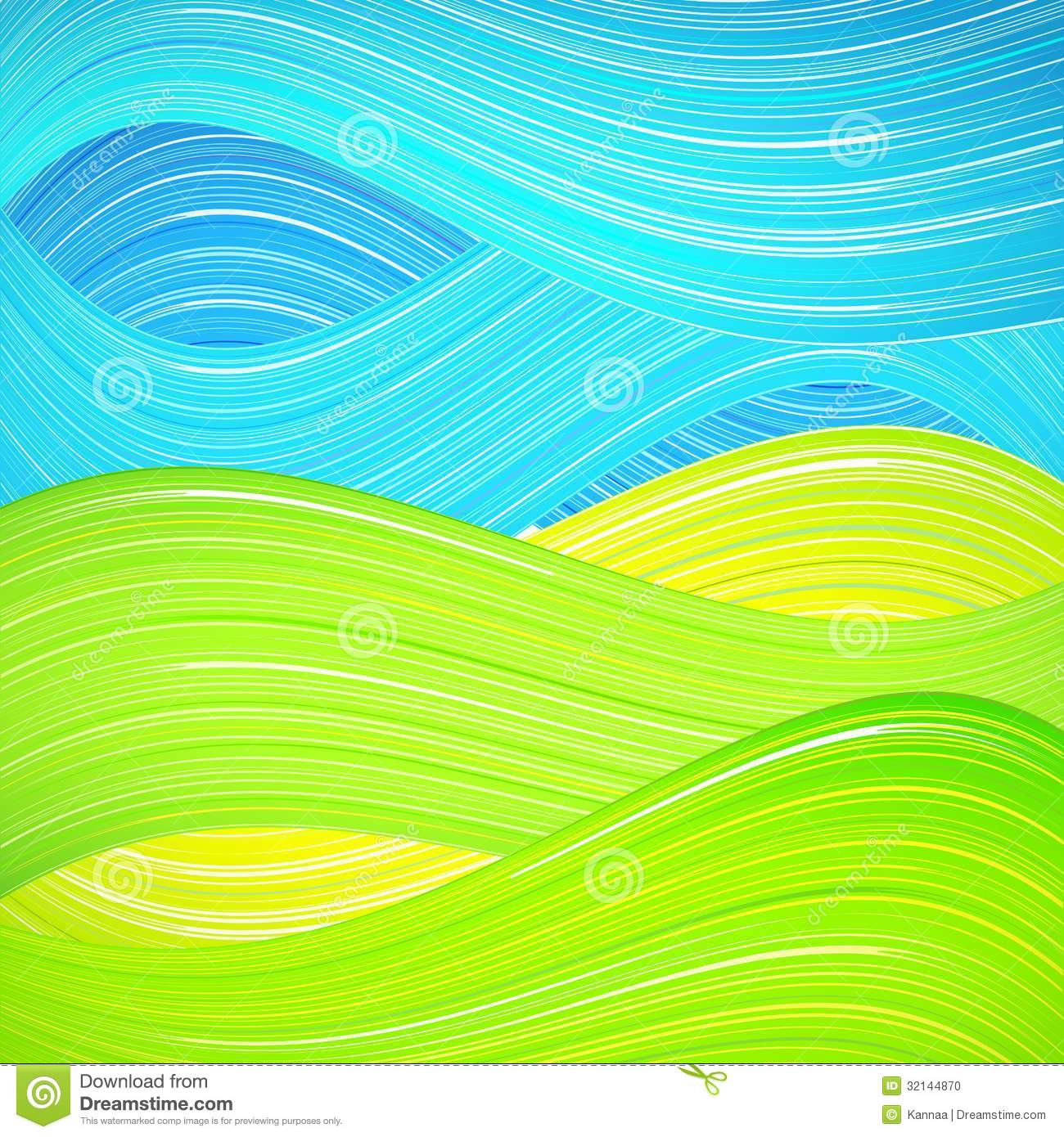 Nature Book Cover Design ~ Green and blue wave background stock photo image