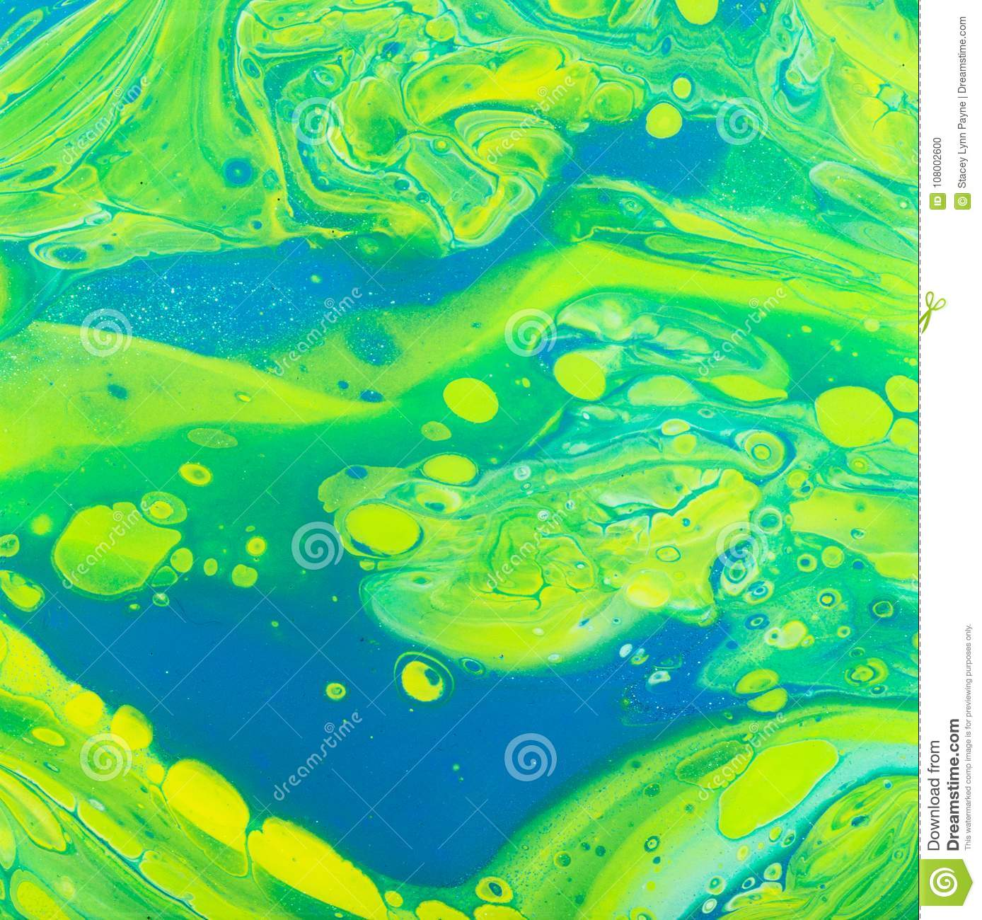 Abstract Plum Turquoise Yellow Pour Art
