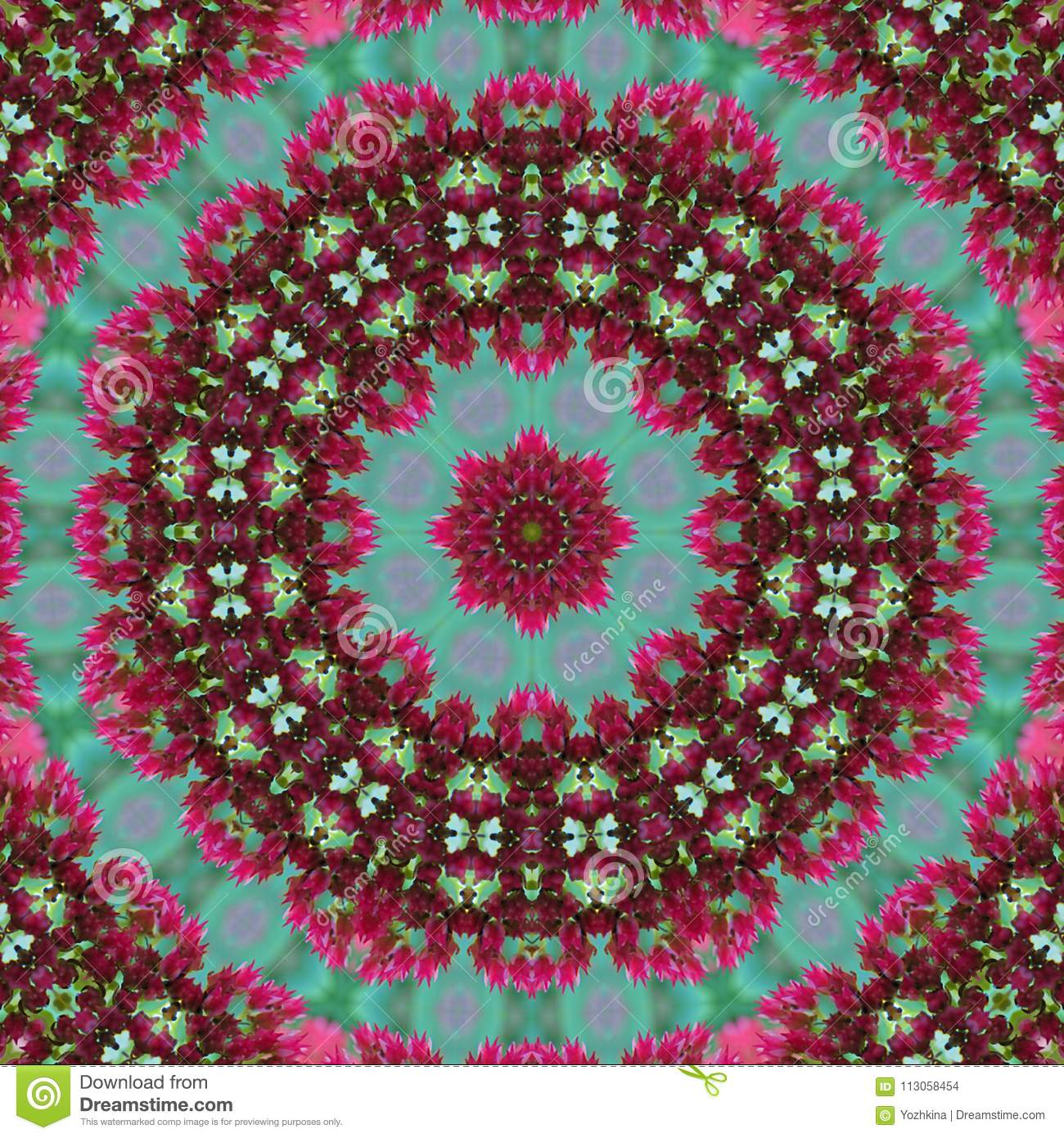 Green and pink floral geometric rosette seamless pattern