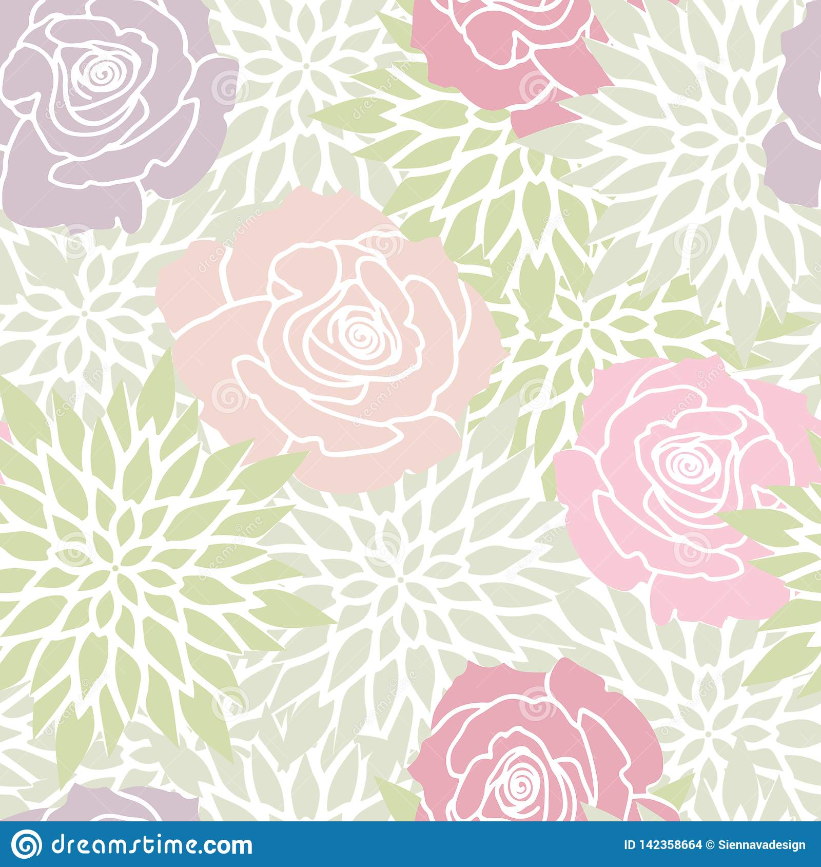 Green Blush Pink Rose Floral Seamless Pattern