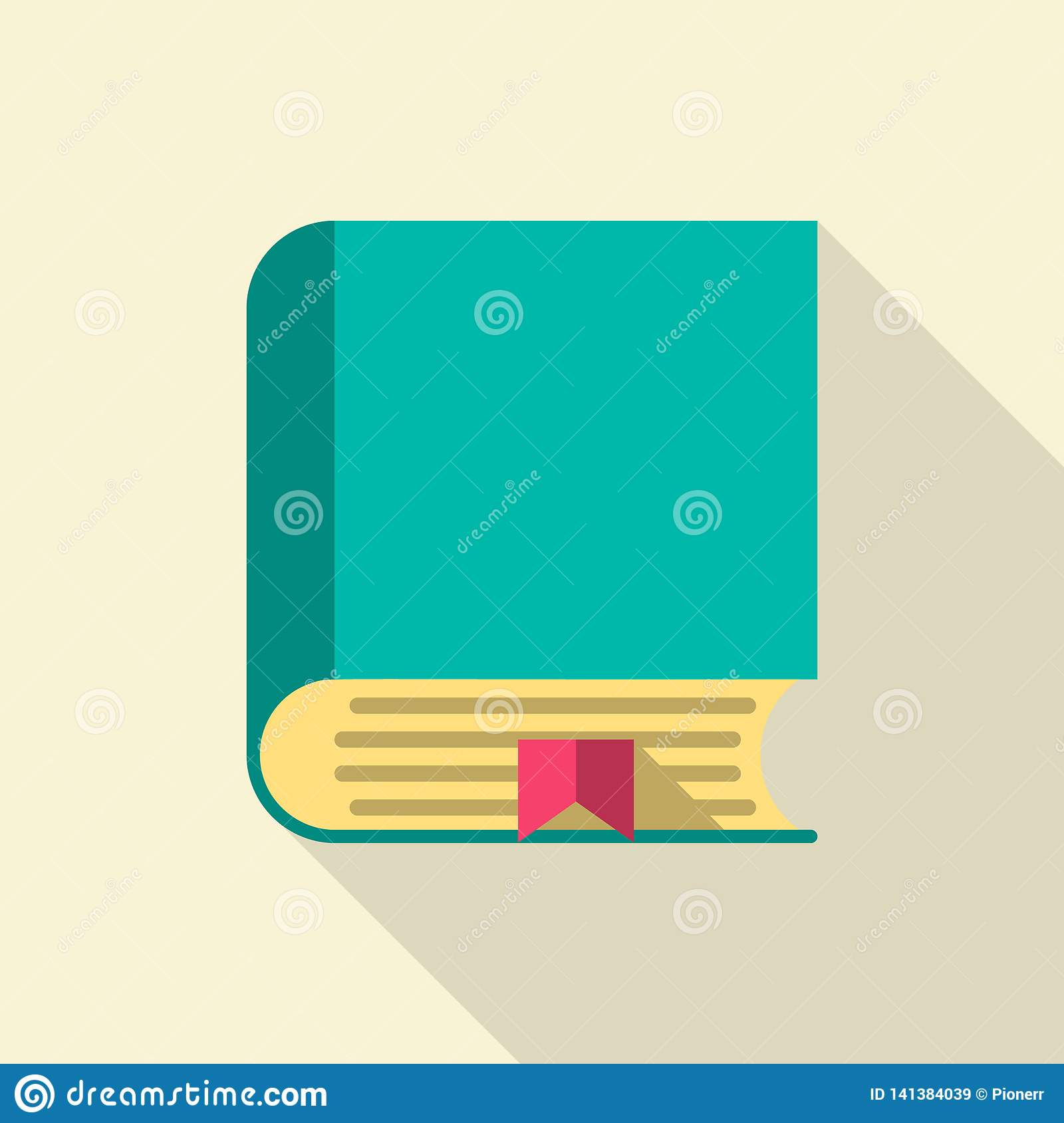 Green book. Flat icon isolated on white background