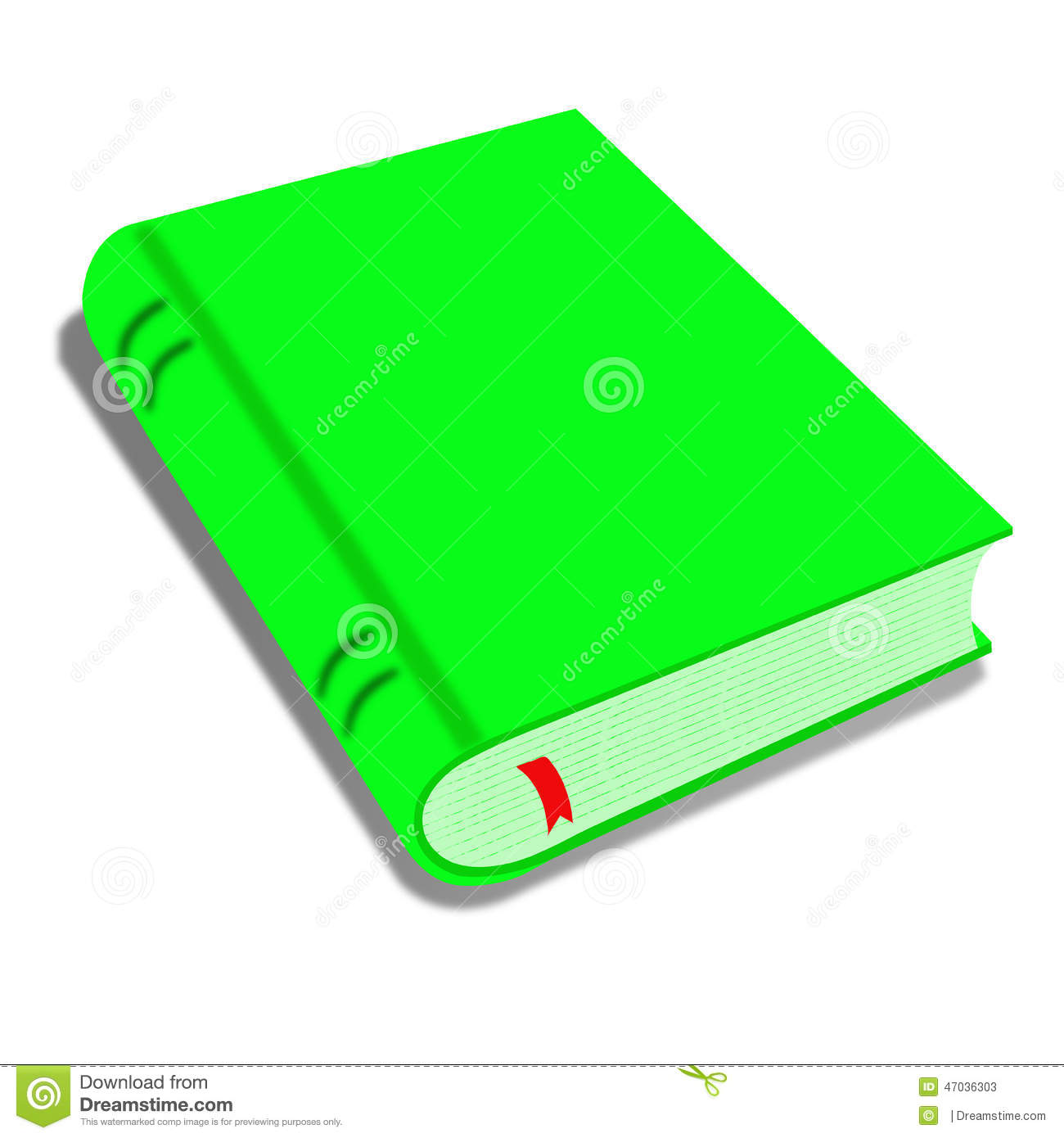 Green Book Isolated On White Illustration Of A Cartoon