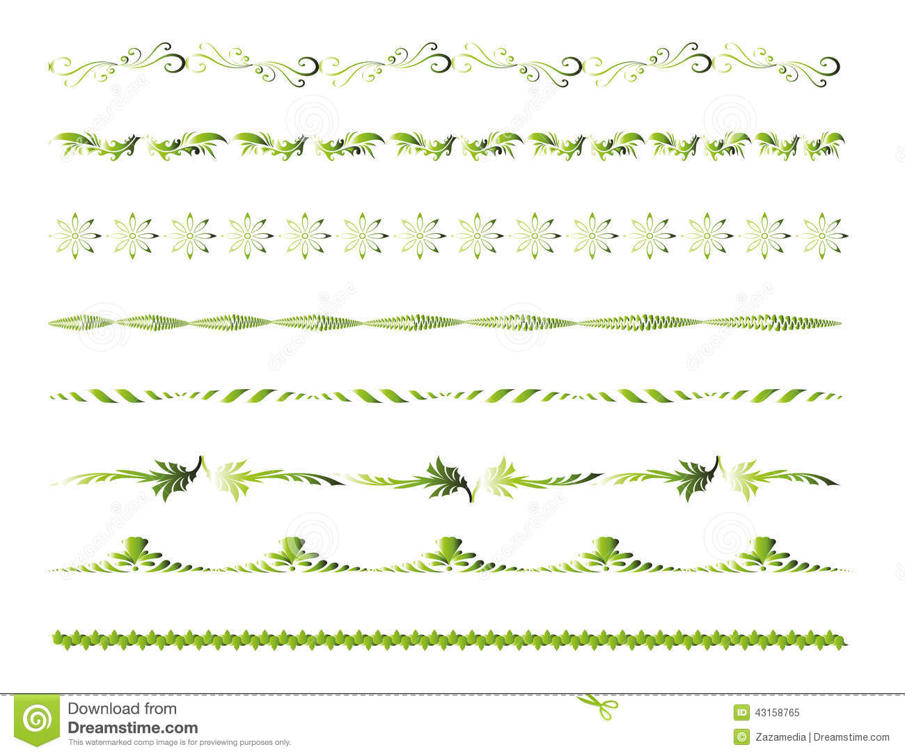 Green border line decoration elements stock vector image for Decoration on line