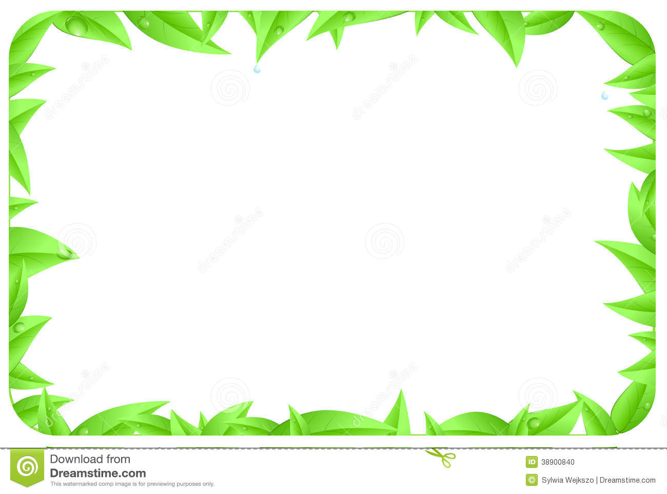 Green Border Made Of Leaves With Space Text Stock ...