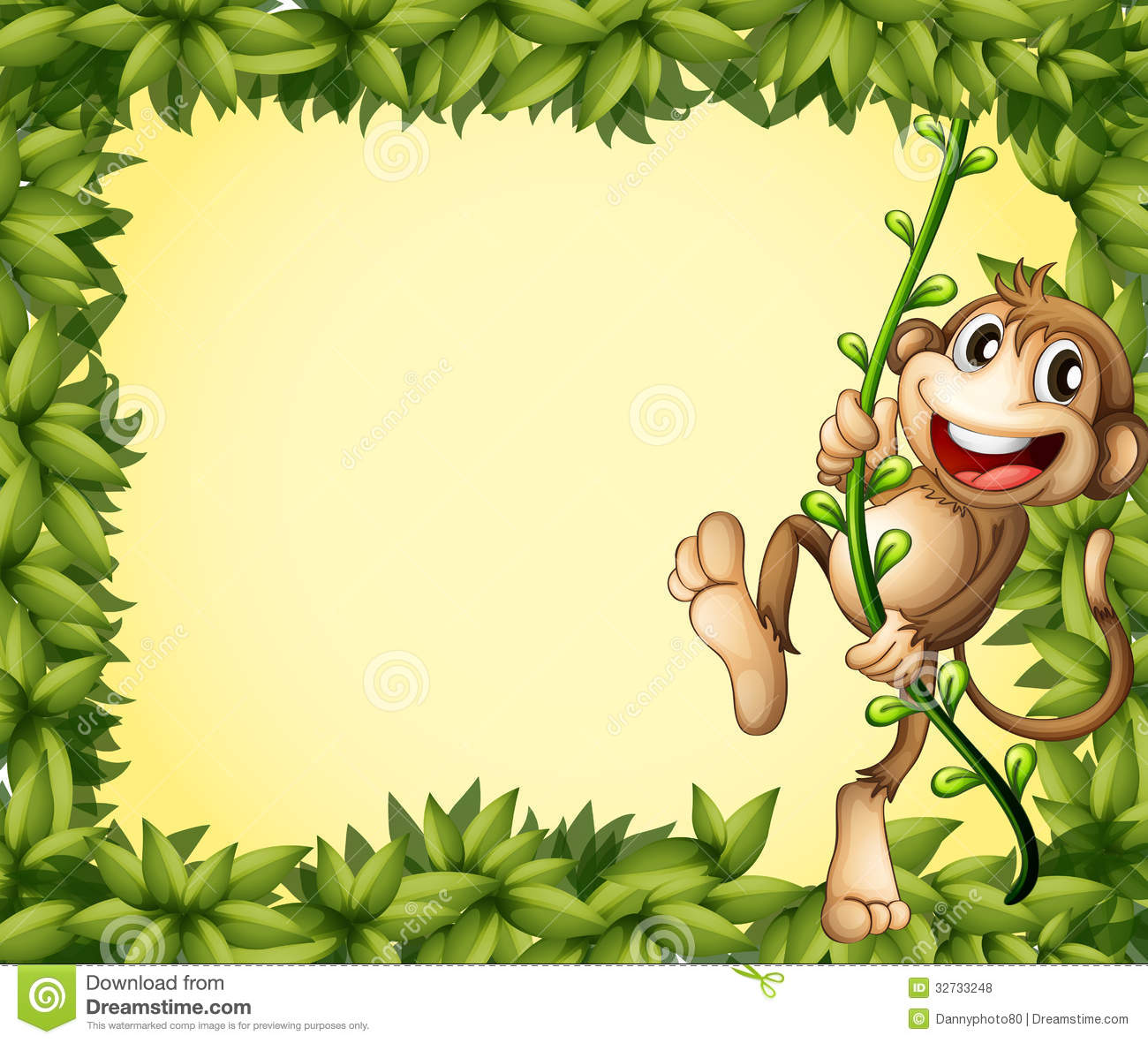 The Green Border With A Monkey Royalty Free Stock Photos