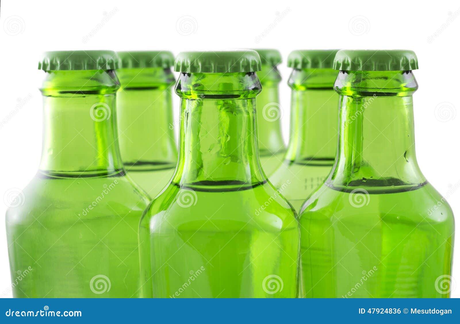 Green bottles of soda water
