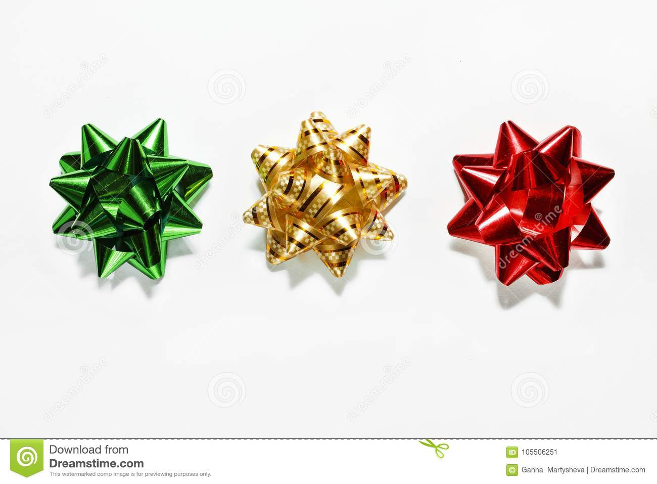 Download Green Bow, Gold Bow, Red Bow. Christmas Decorations. Objects On White Stock Image - Image of golden, decor: 105506251