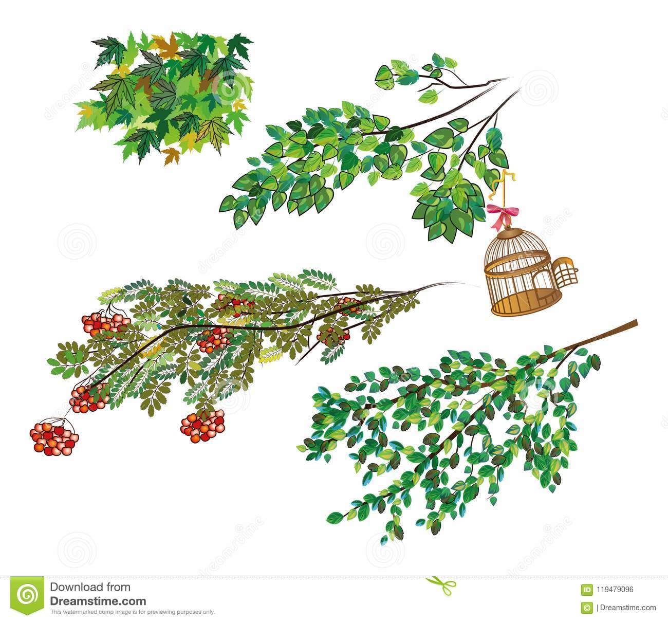Branches of different trees mountain ash, maple, aspen with an open bird cage