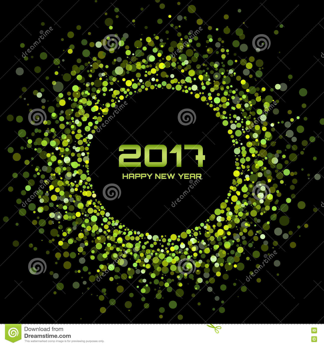 green bright confetti circle frame new year 2017 background