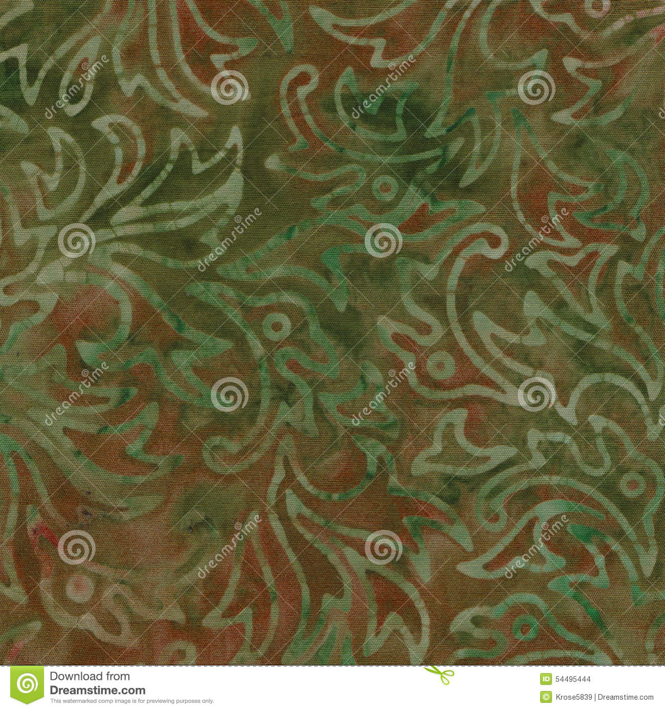 green and brown batik pattern with swirls and a fine cloth texture.