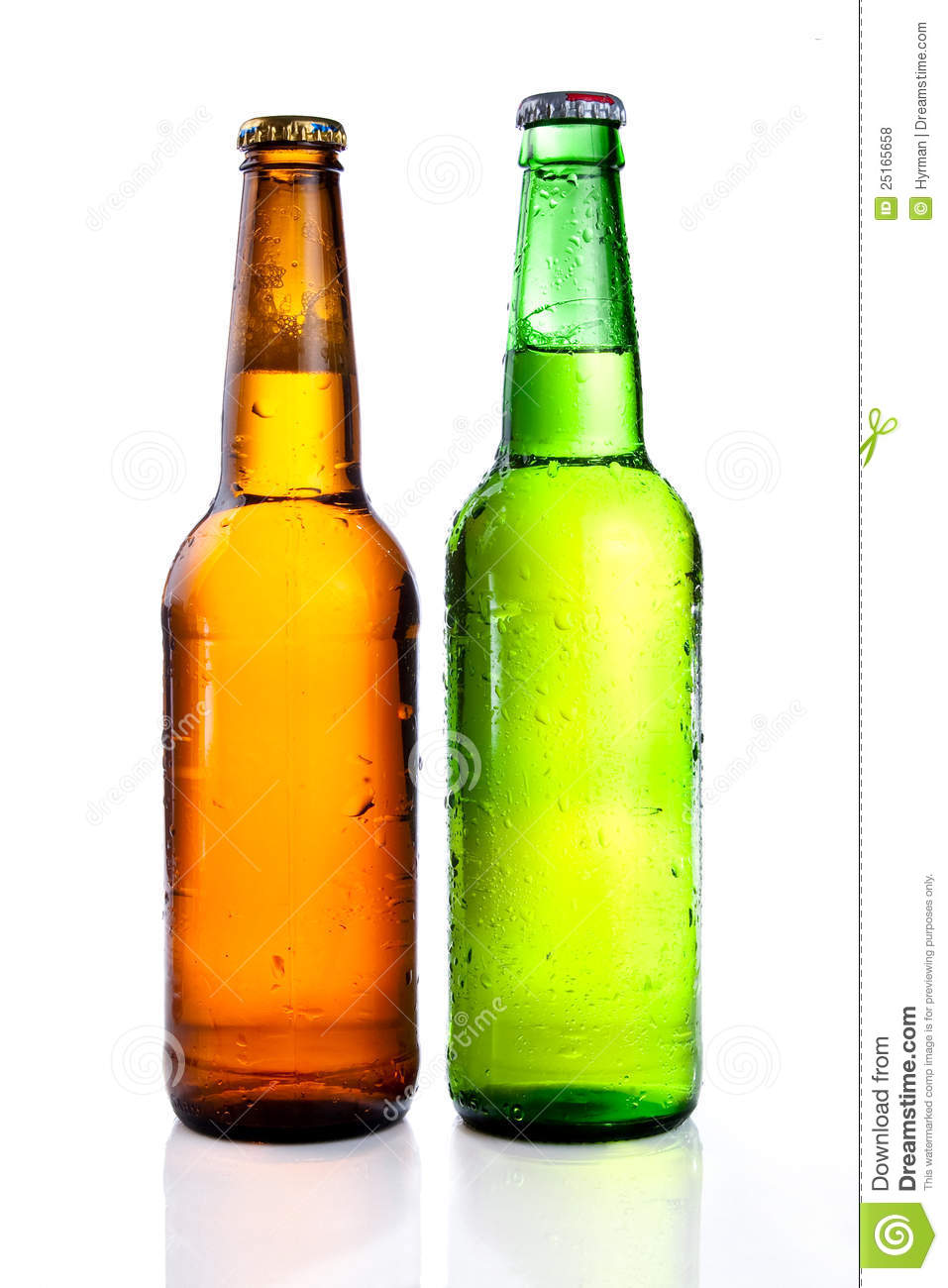 Green and brown beer bottle with drops drink without label on a white