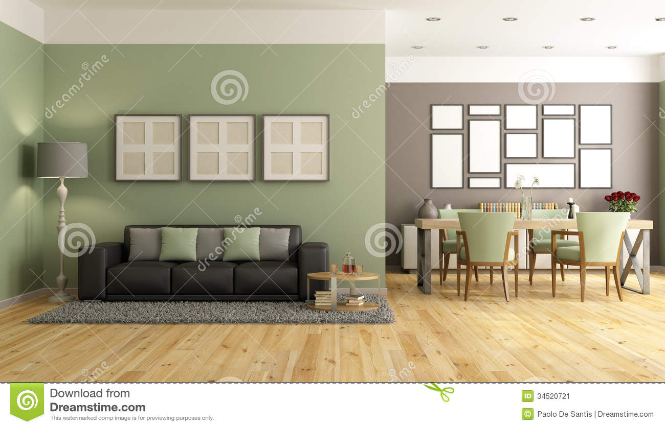 Green and brown modern lounge stock image image 34520721 for Pareti colorate casa moderna