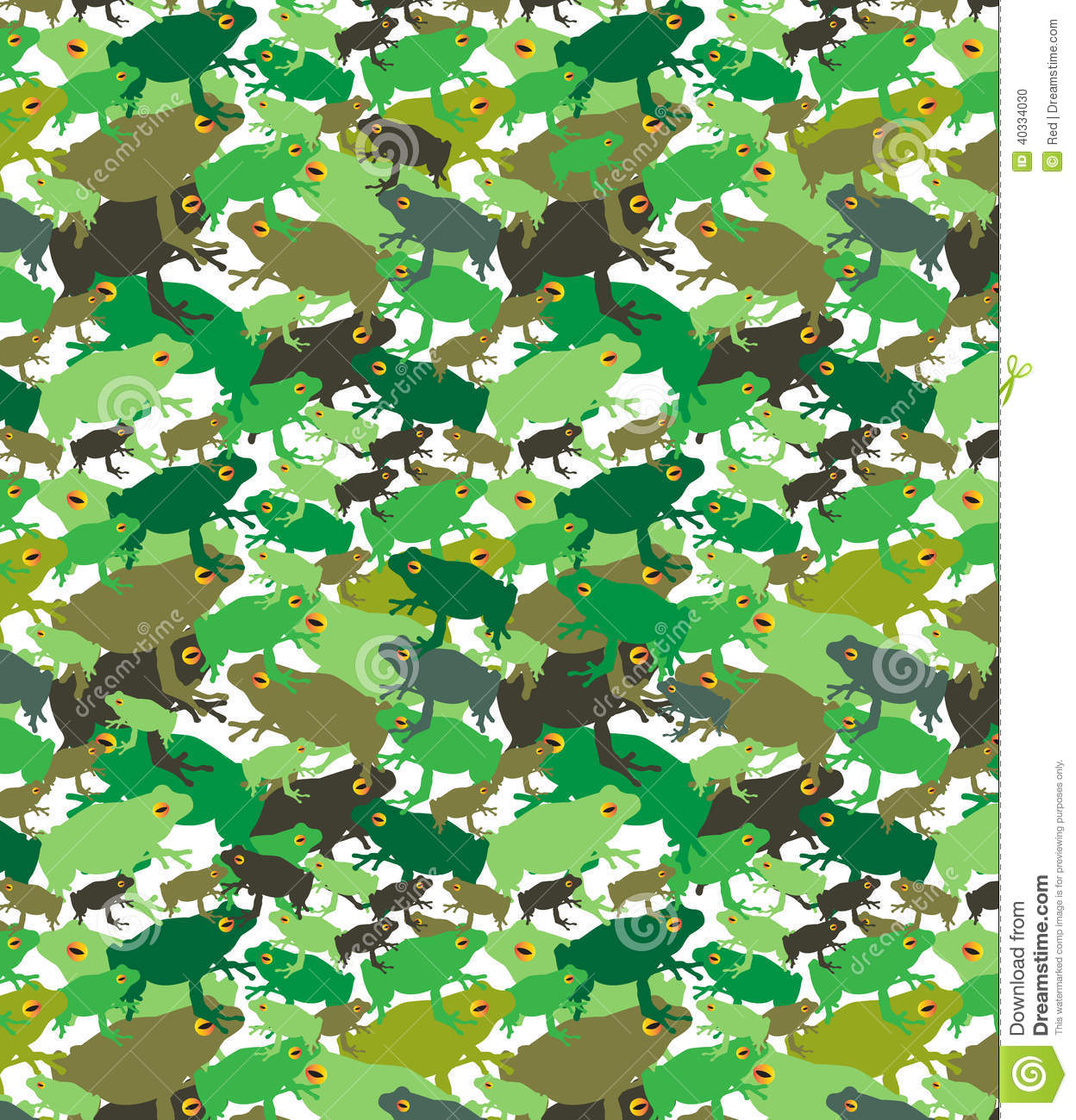 Green Brown Tree Frogs Camo Pattern Stock Vector