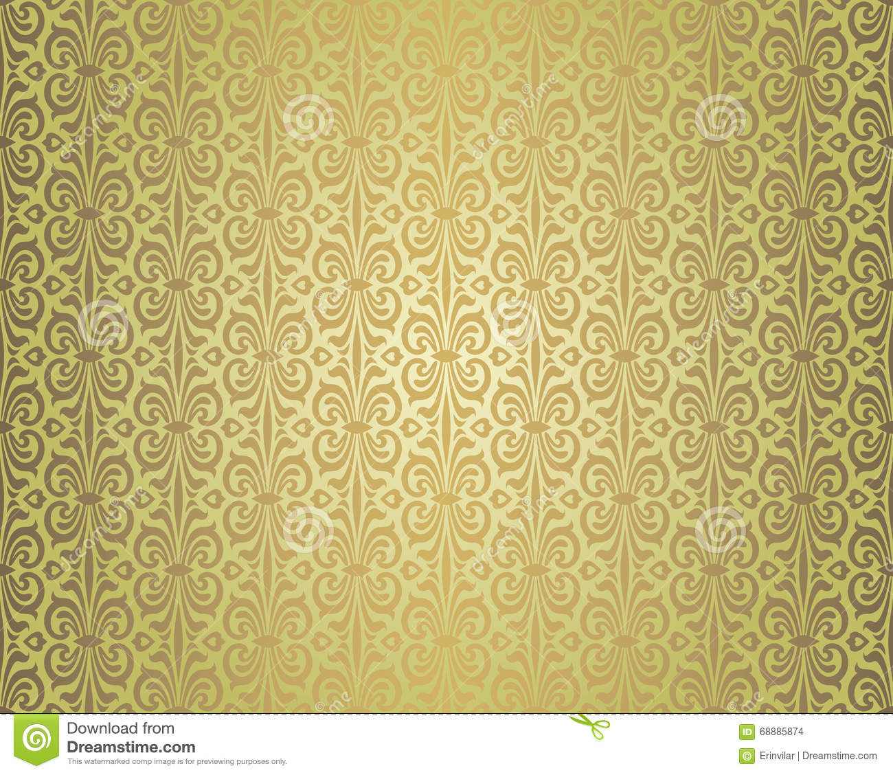 Green Brown Vintage Wallpaper Background Design Pattern