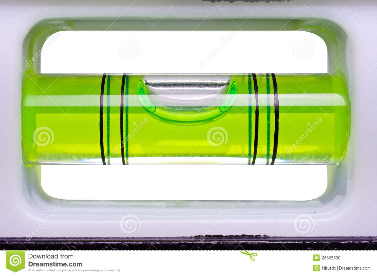 Green bubble level isolated on a white background.