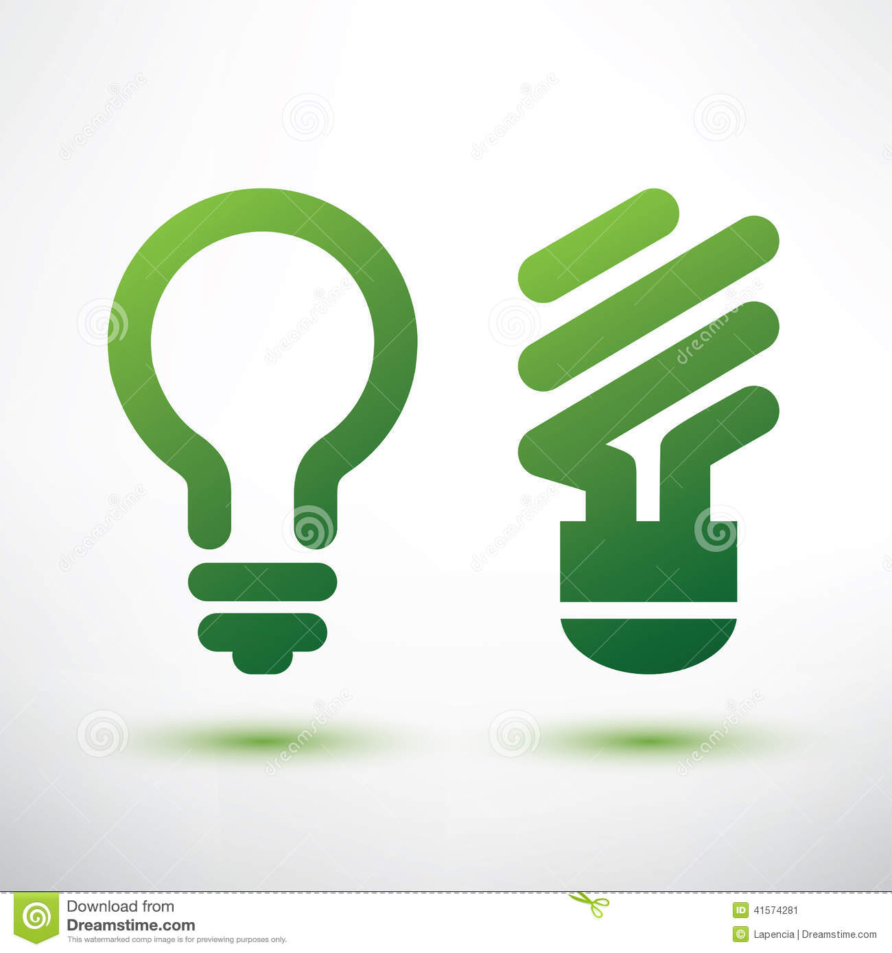 Green Light Bulb Logo Icons Set Stock Vector
