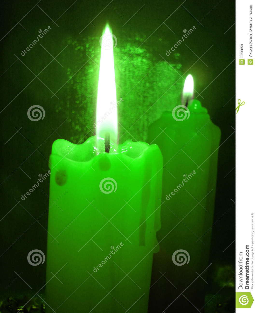 Green Burning Candles Stock Photos - Image: 3696853