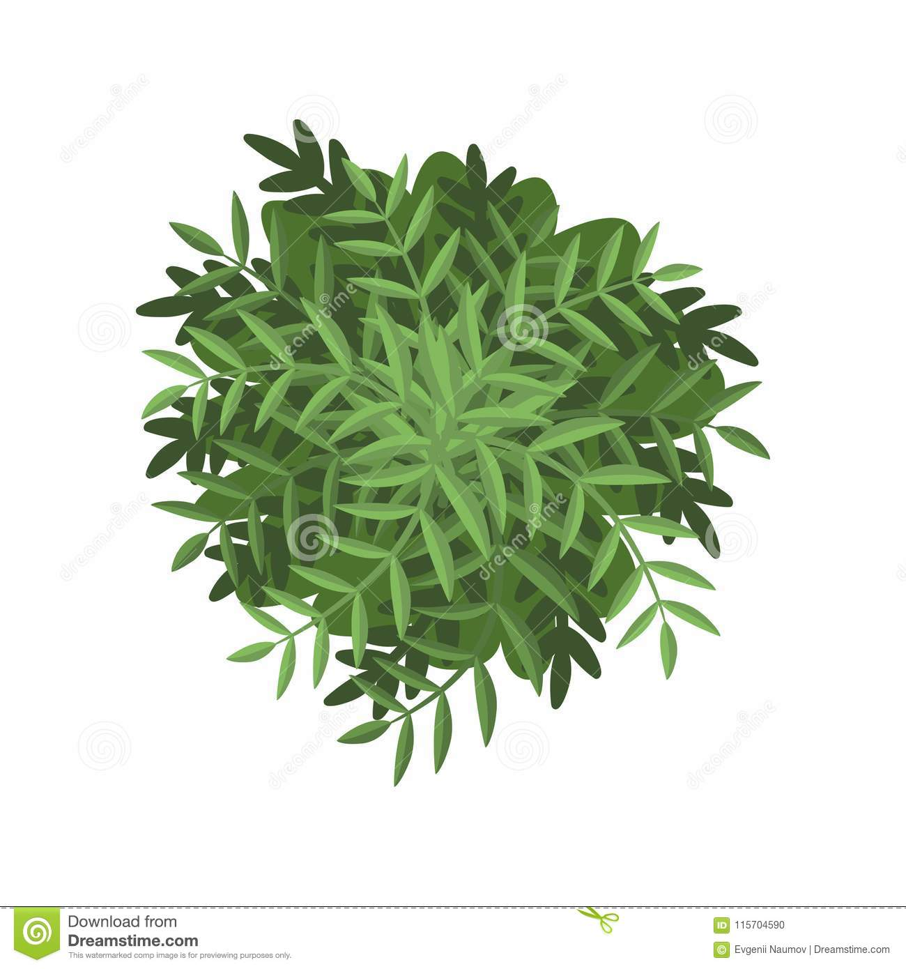 Download Green Bush Landscape Design Element Top View Vector Illustration On A White Background