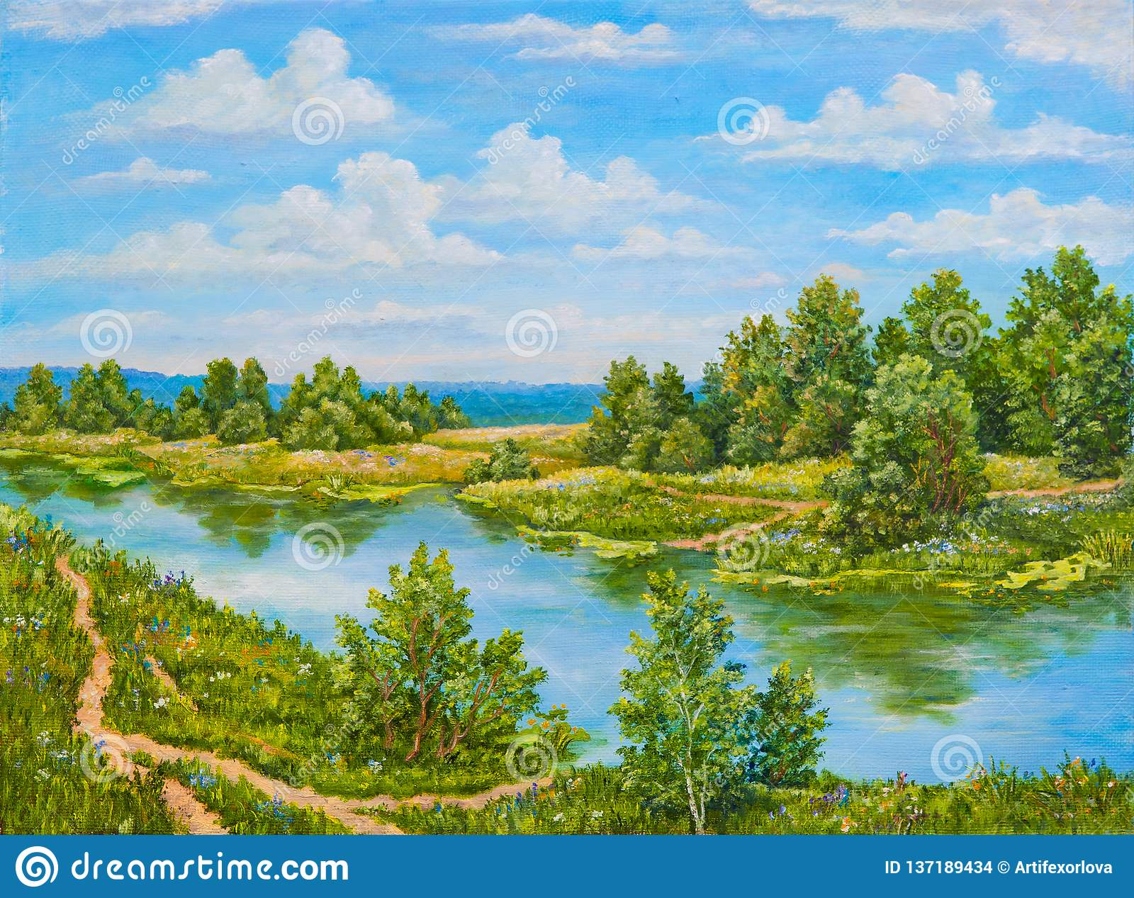 Green bushes near river in sunny day. Landscape trees, green grass on the shore of a river. Original oil painting on a