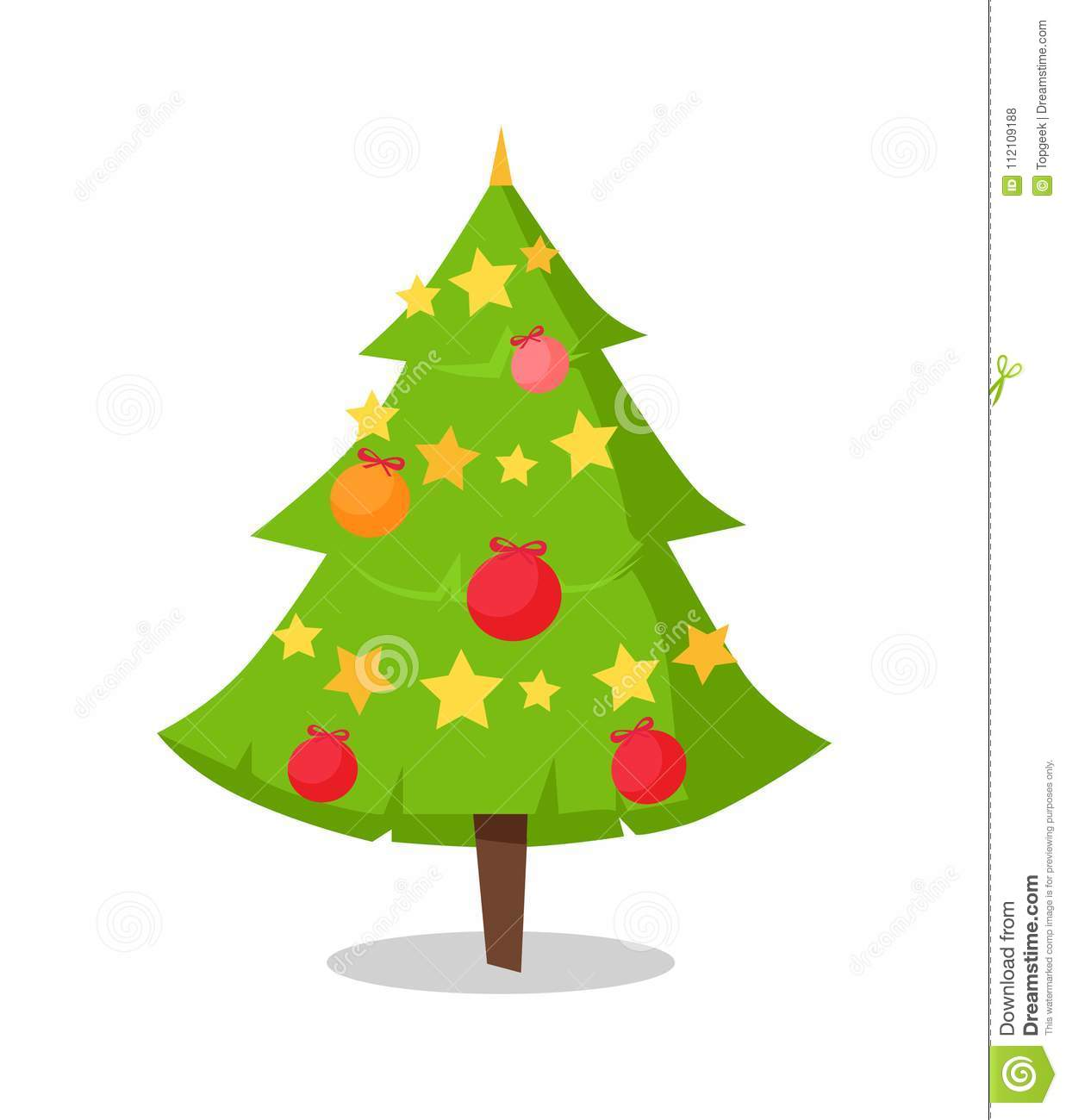 Green Bushy Christmas Tree Icon Decorated By Star Stock ...