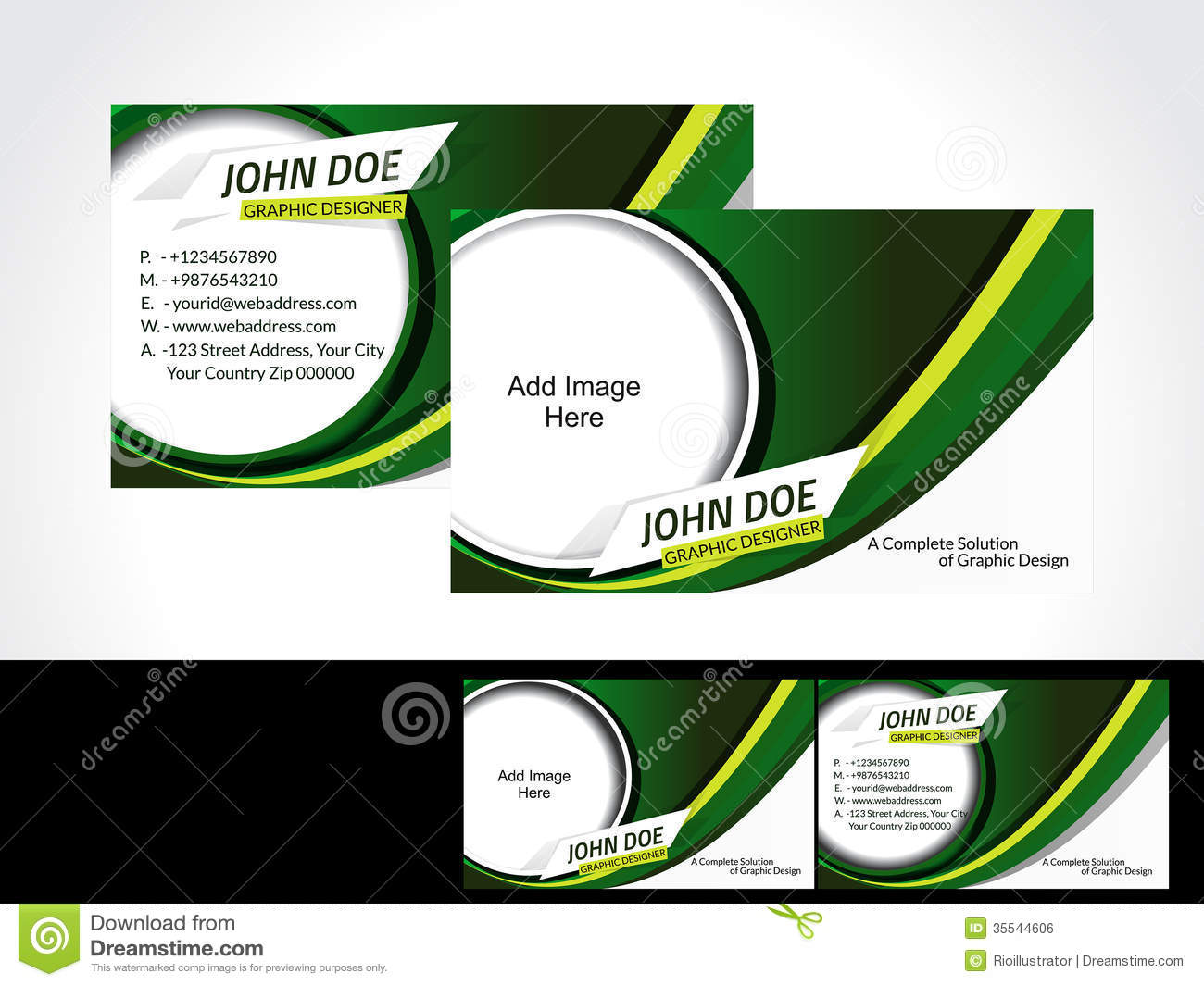 Green Business Card Design Royalty Free Stock Image - Image: 35544606