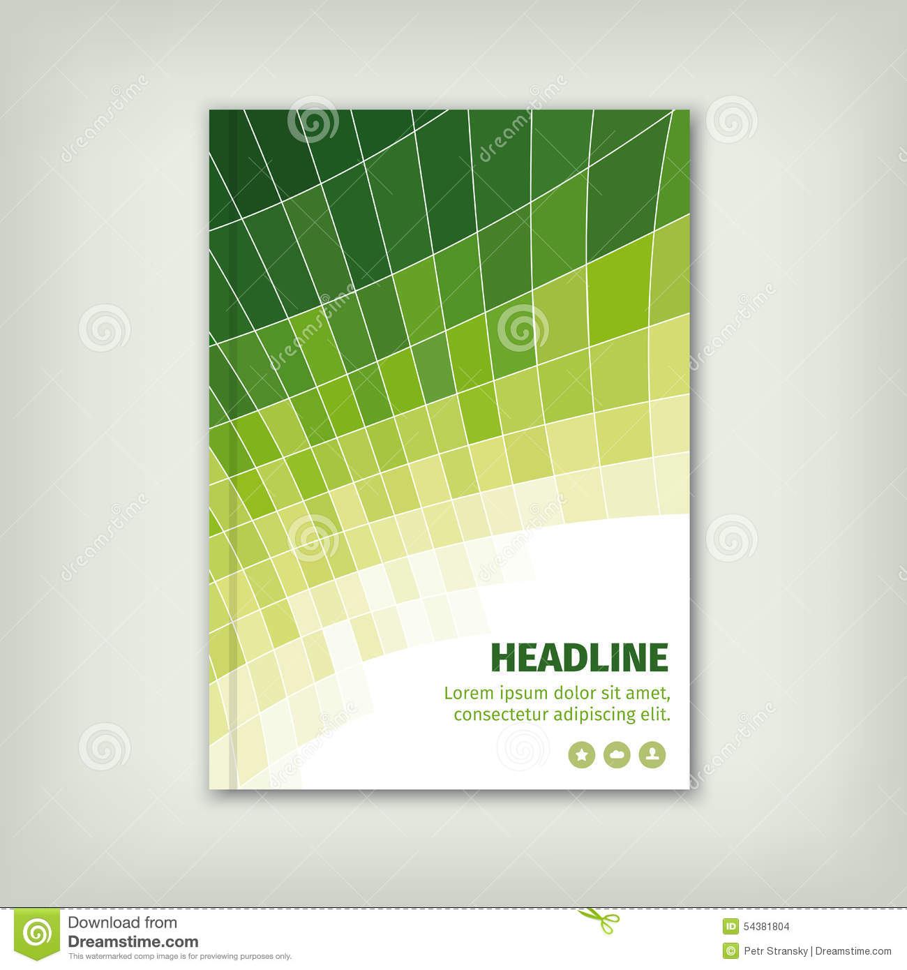 Green business cover brochure design with lines stock for Green plans