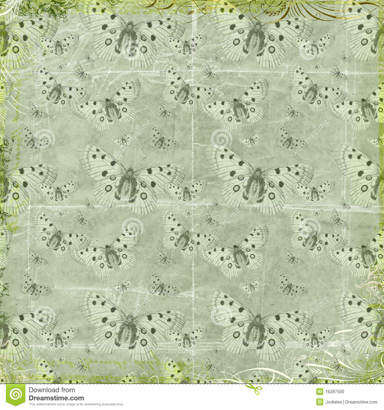 Green butterflies repeat pattern background