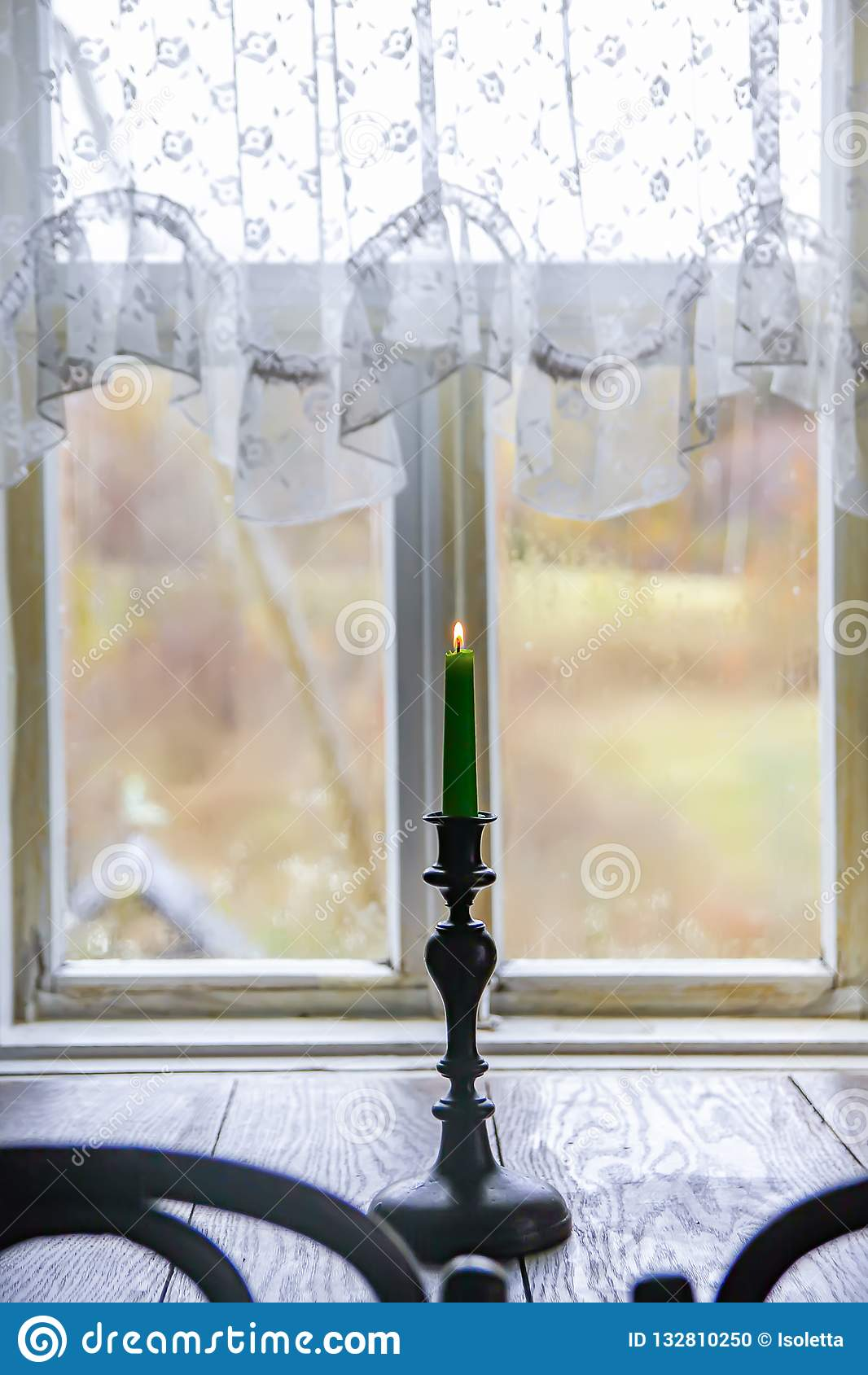 Candle In Vintage Copper Candle Holder On Wooden Table Near The Window In Rural House Interior Stock Photo Image Of Window Lilac 132810250