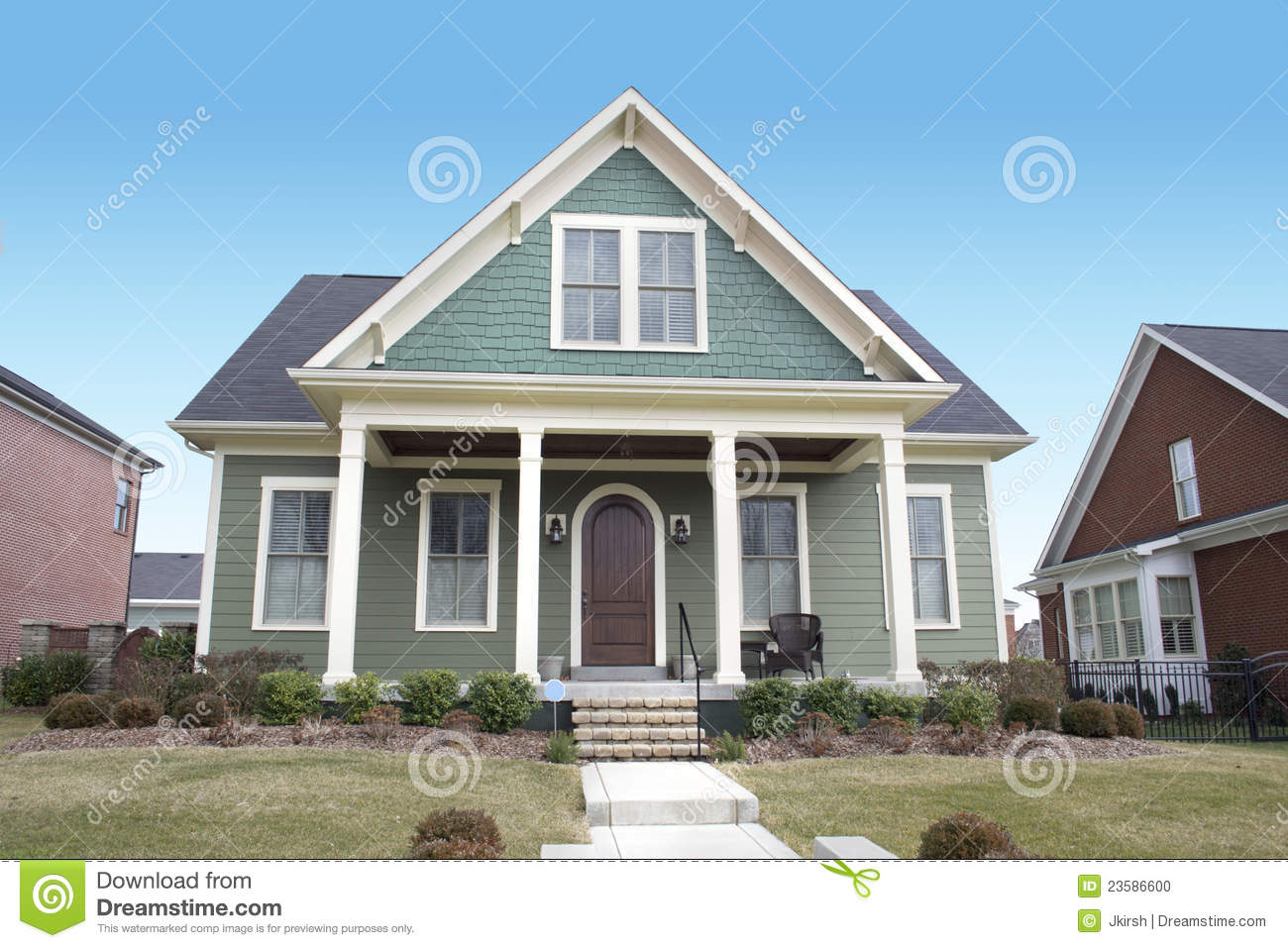 Green Cape Cod Style House Stock Photo Image 23586600
