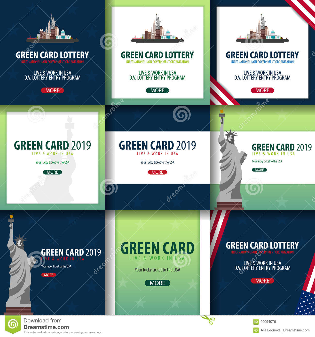 Green Card Lottery Banner. Immigration And Visa To The USA