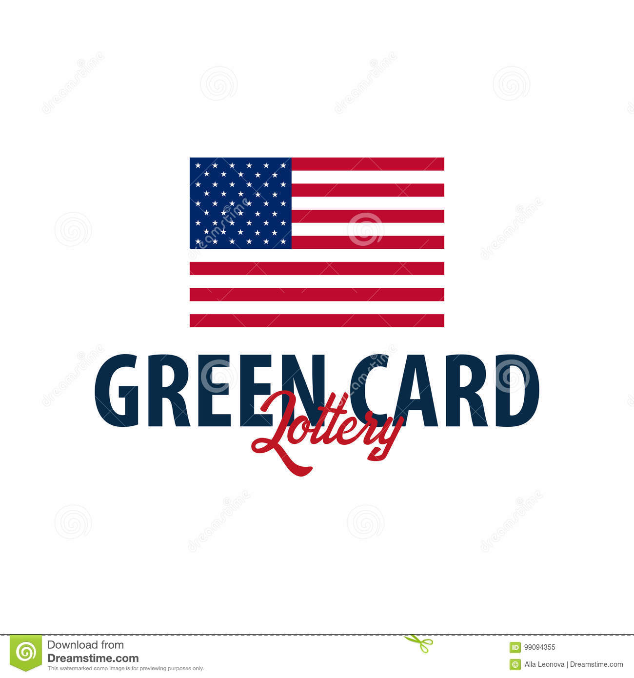 Green Card Lottery Logo Or Emblem. Immigration And Visa To