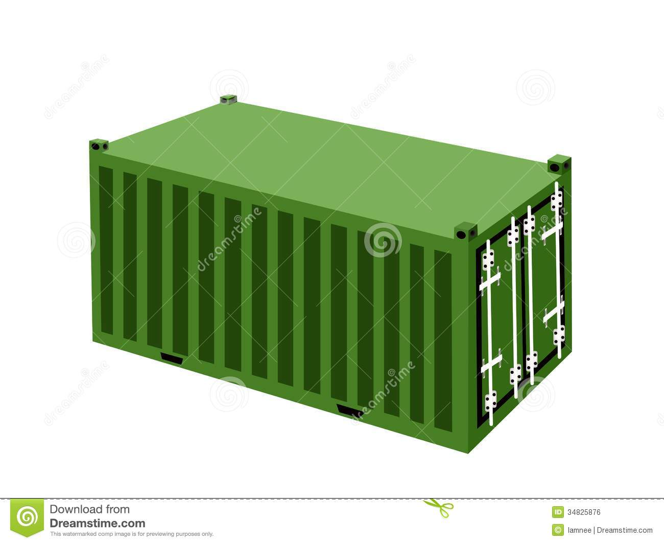 A Green Cargo Container On White Background Royalty Free