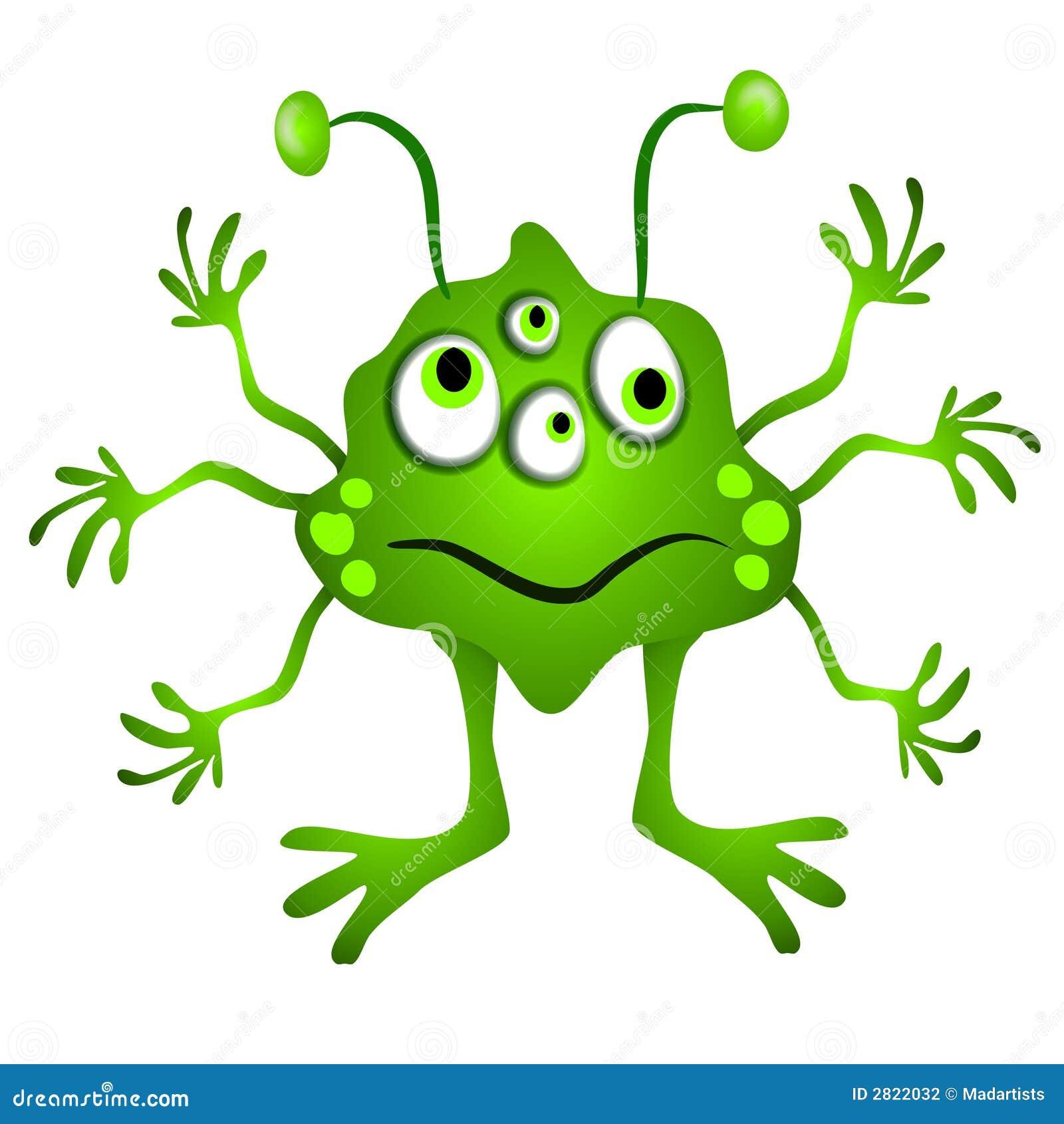 cartoon clip art illustration of a little green alien man (or woman ...