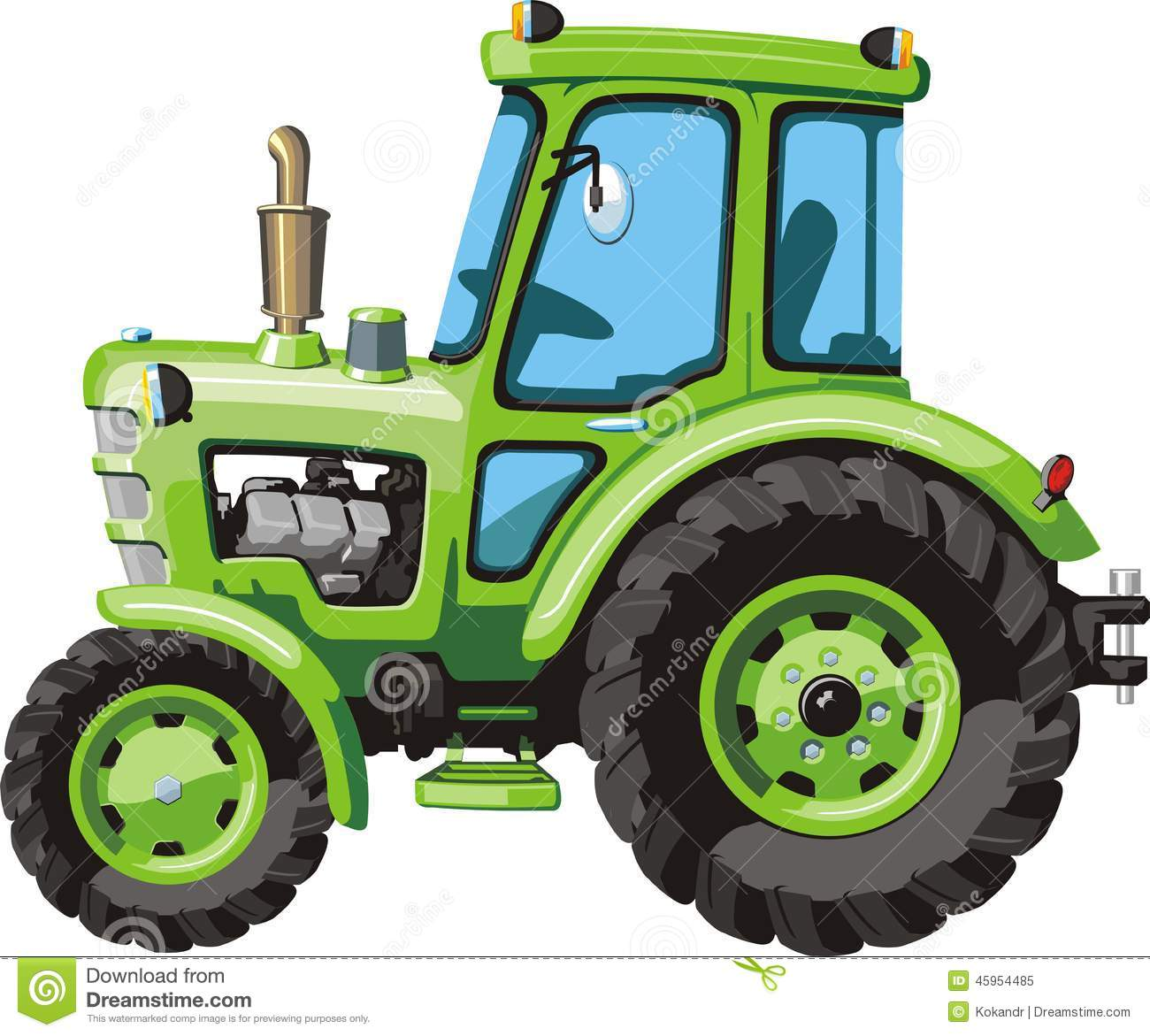 Up The Tractor Green Tractor With Bucket Cartoon : Green cartoon tractor stock vector illustration of