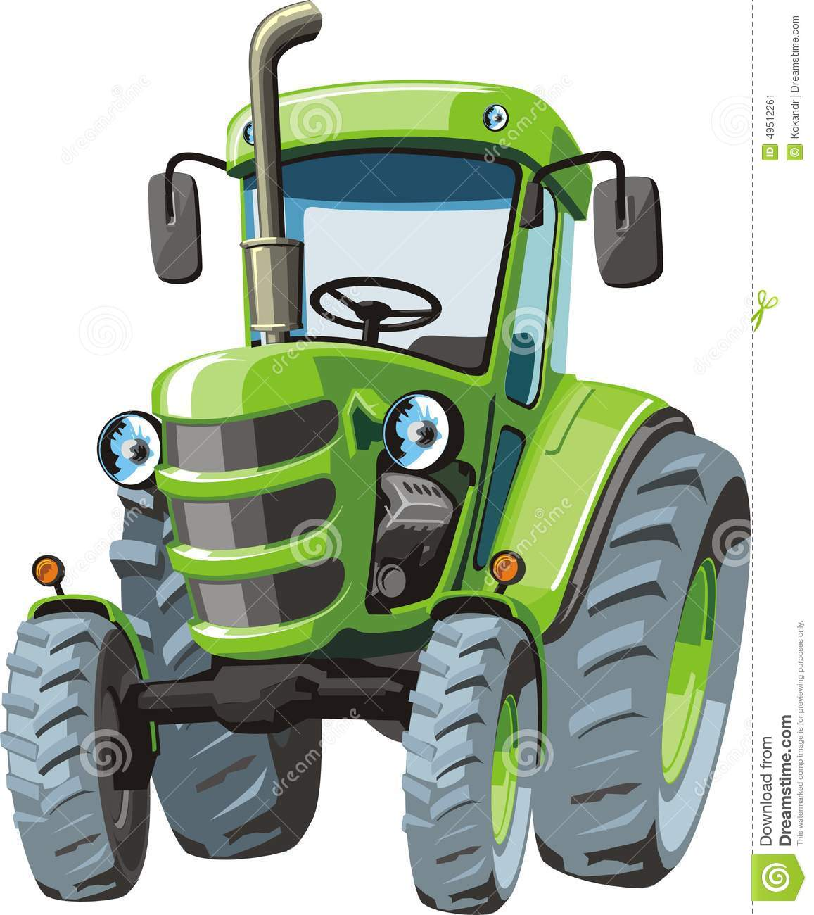 Up The Tractor Green Tractor With Bucket Cartoon : Green cartoon tractor stock vector image