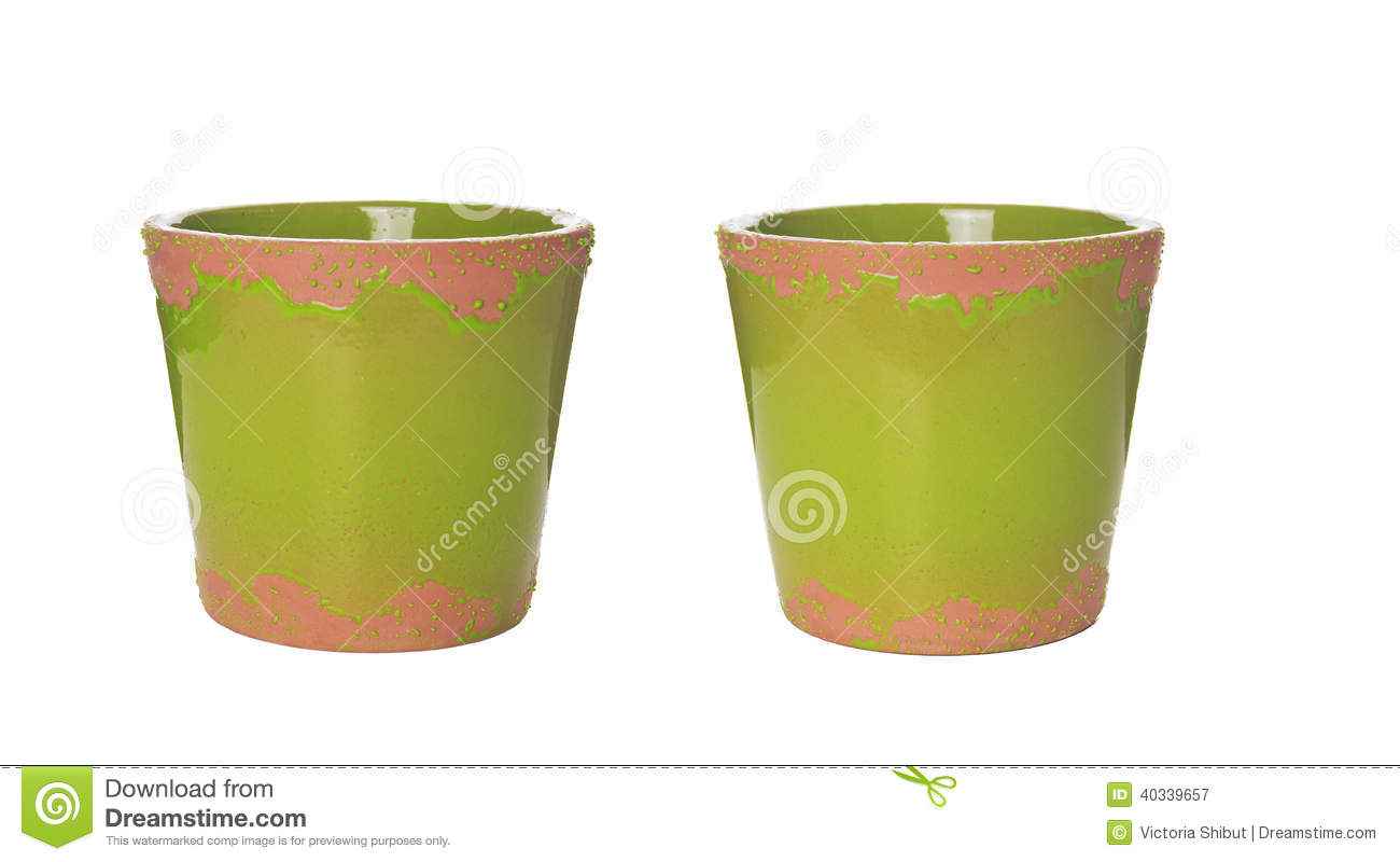Green Ceramic Flower Pots Isolated Stock Image