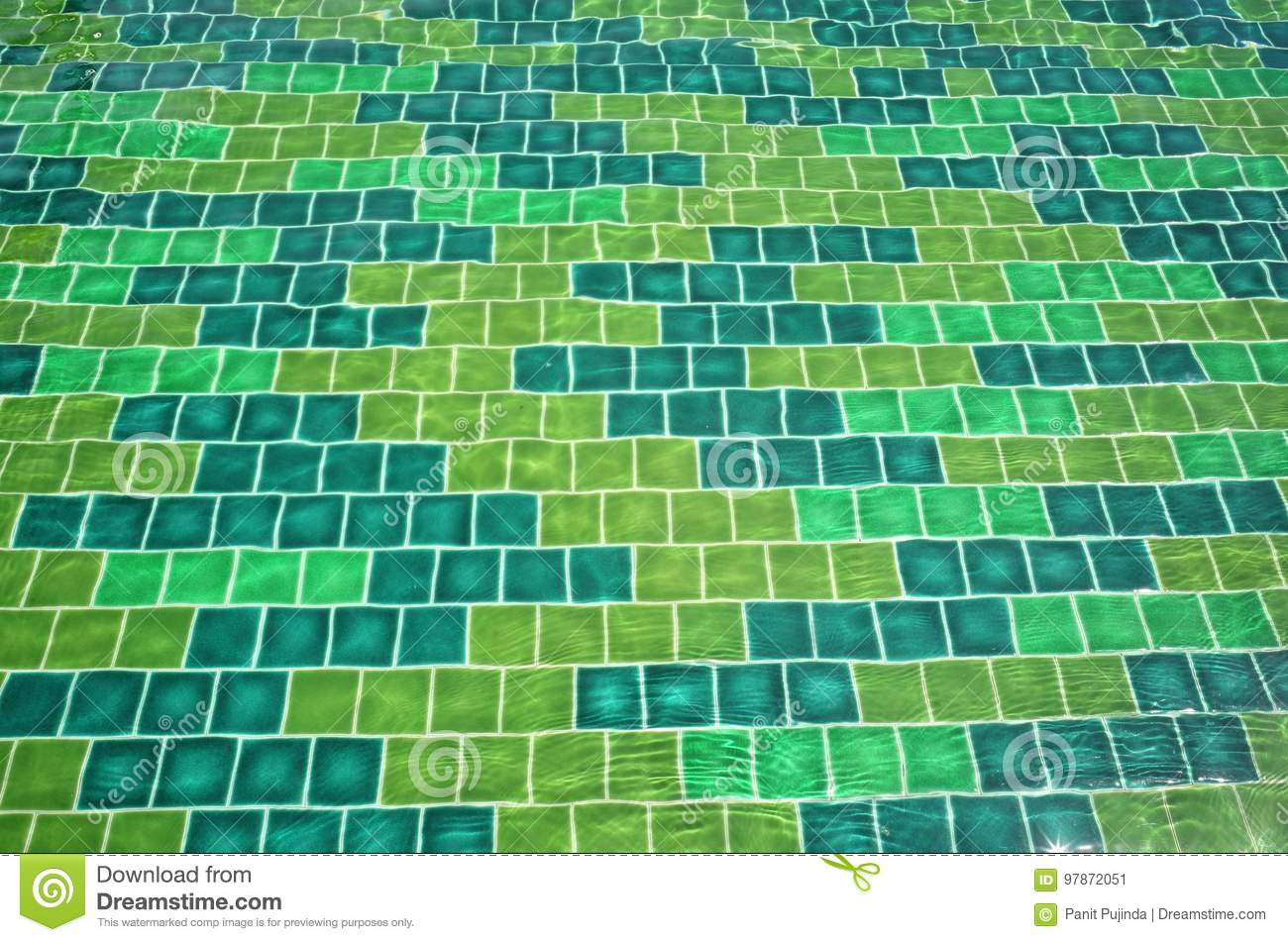 Green Ceramic Tiles In Ripple Water Stock Image Image Of Distorted