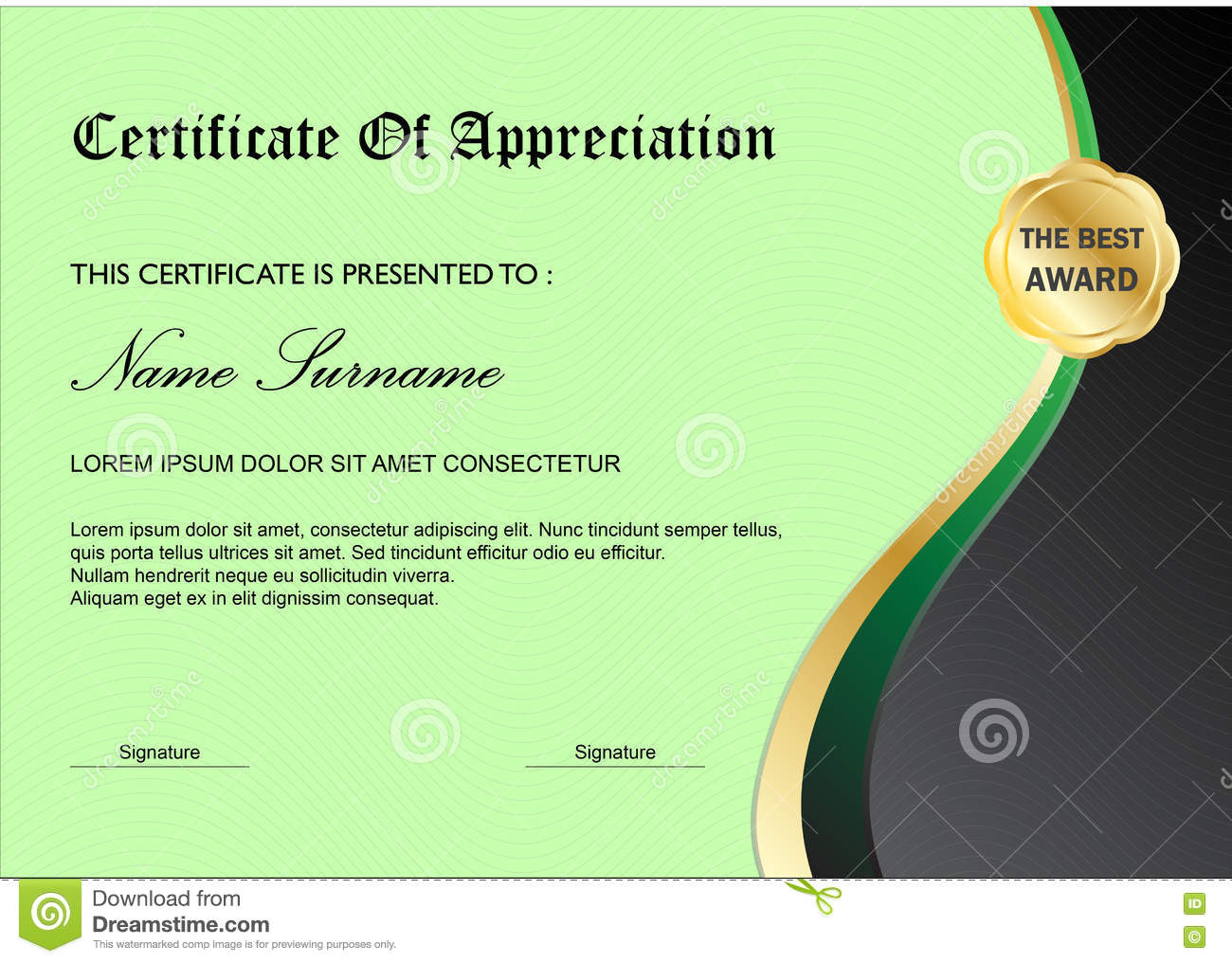 Green Certificate Diploma Award Template Simple Design Stock