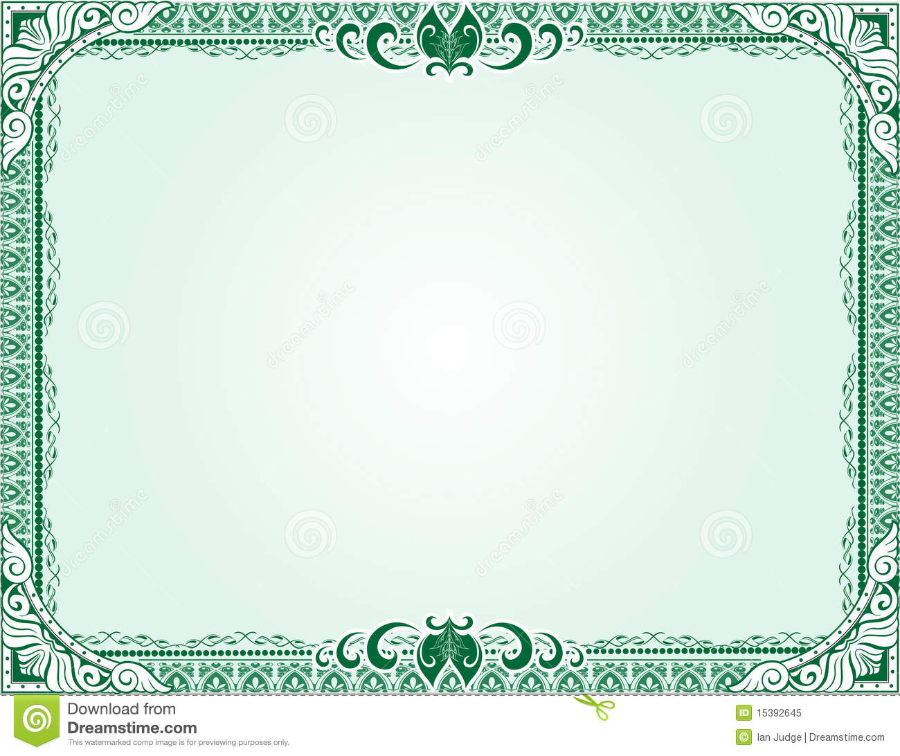 Green Certificate Diploma Template Stock Vector