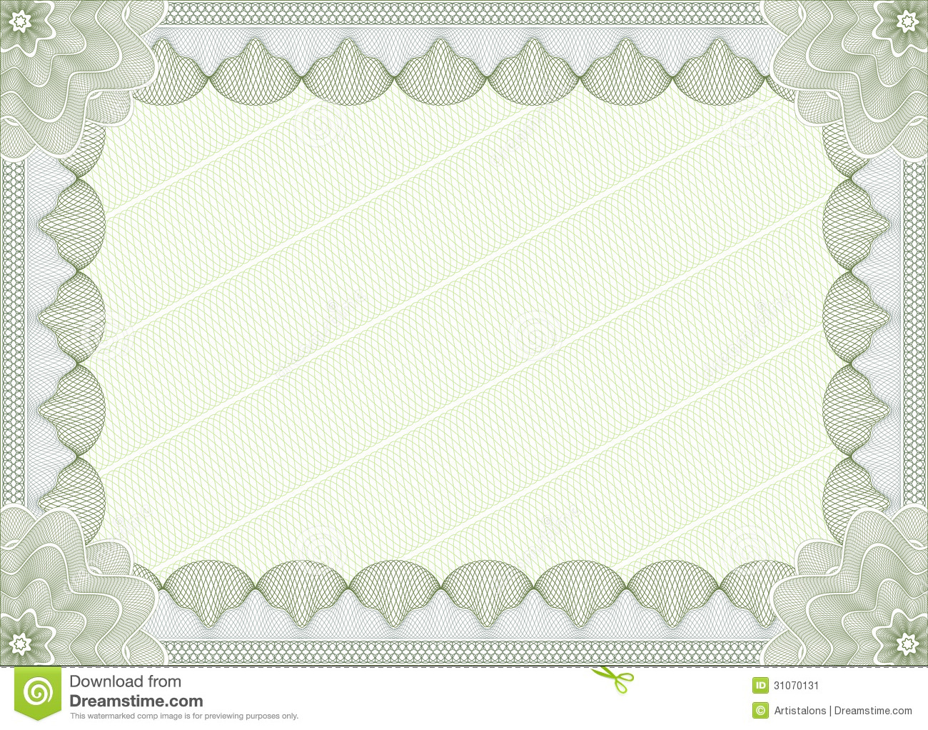 Green Certificate Or Diploma Template Stock Image - Image: 31070131