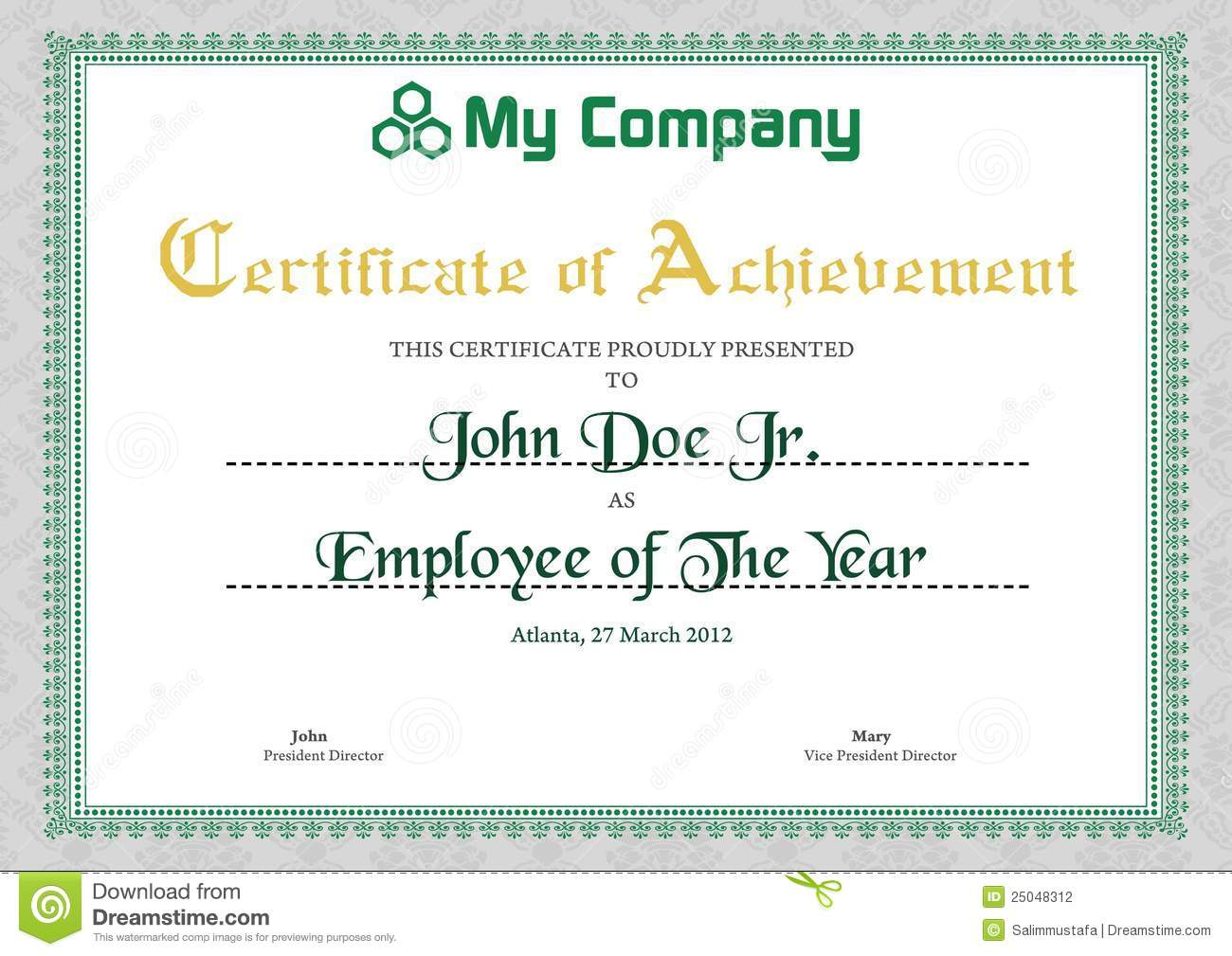 Green Certificate Template Stock Photography Image 25048312