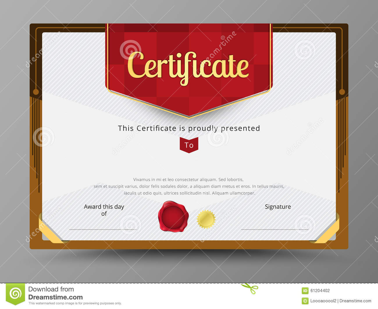 green certificate template with gold ribbon decorate stock vector