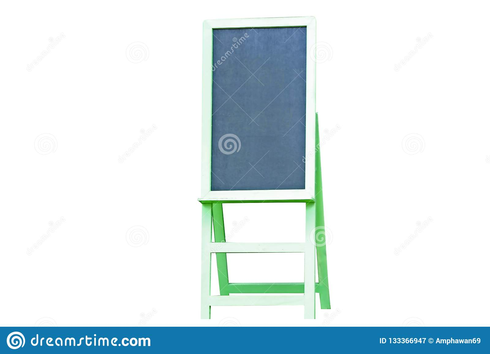 Green chalkboard menu isolated on white background