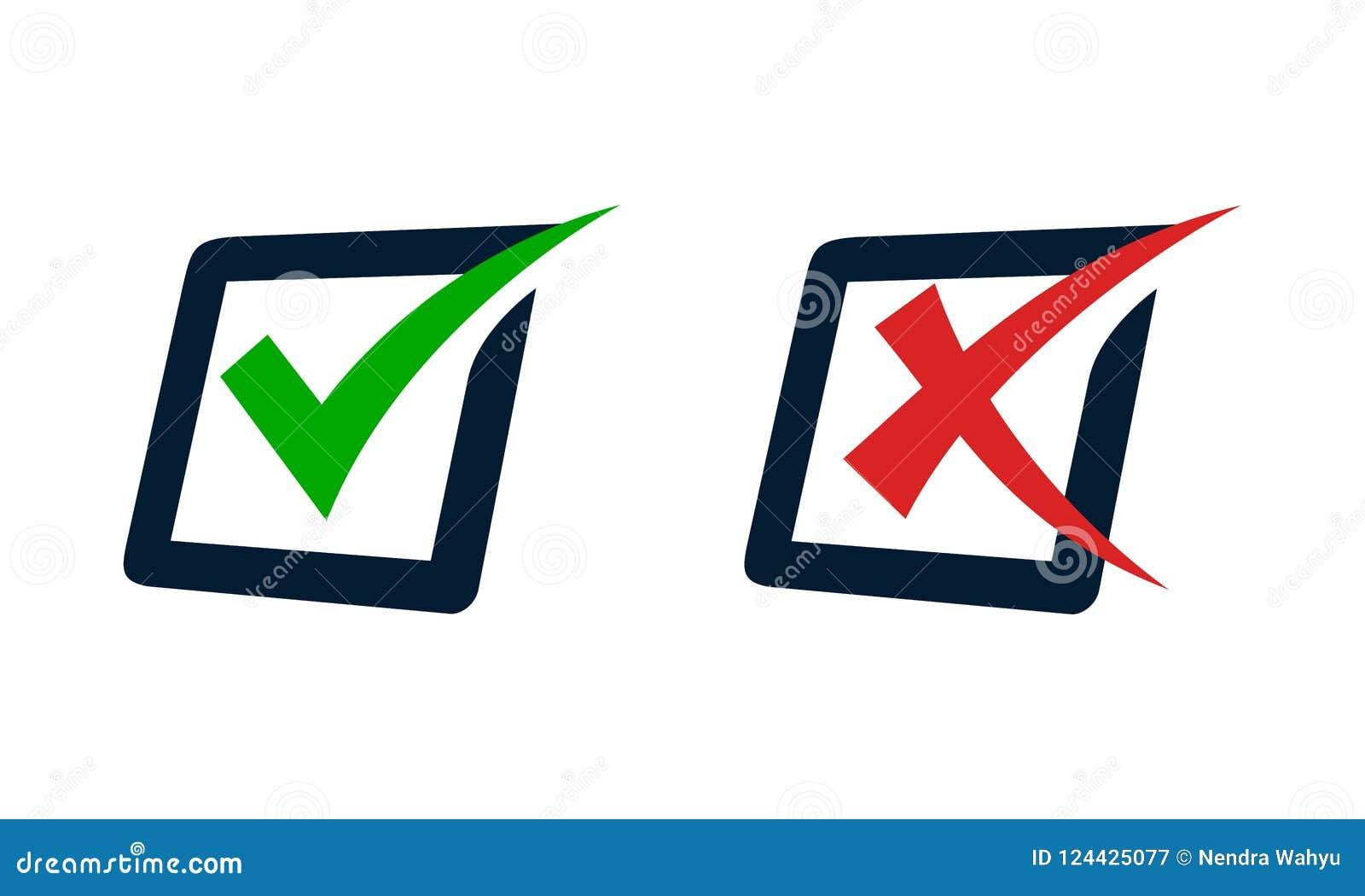 Check Mark And Cross Mark On A Survey Box Stock Vector